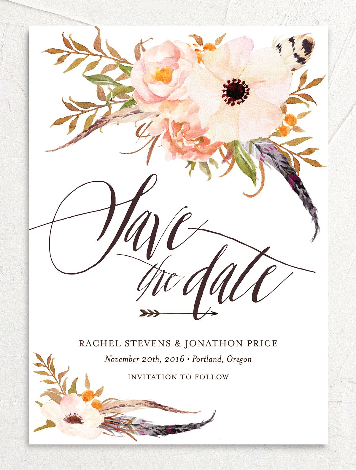 bohemian floral save the date in peach