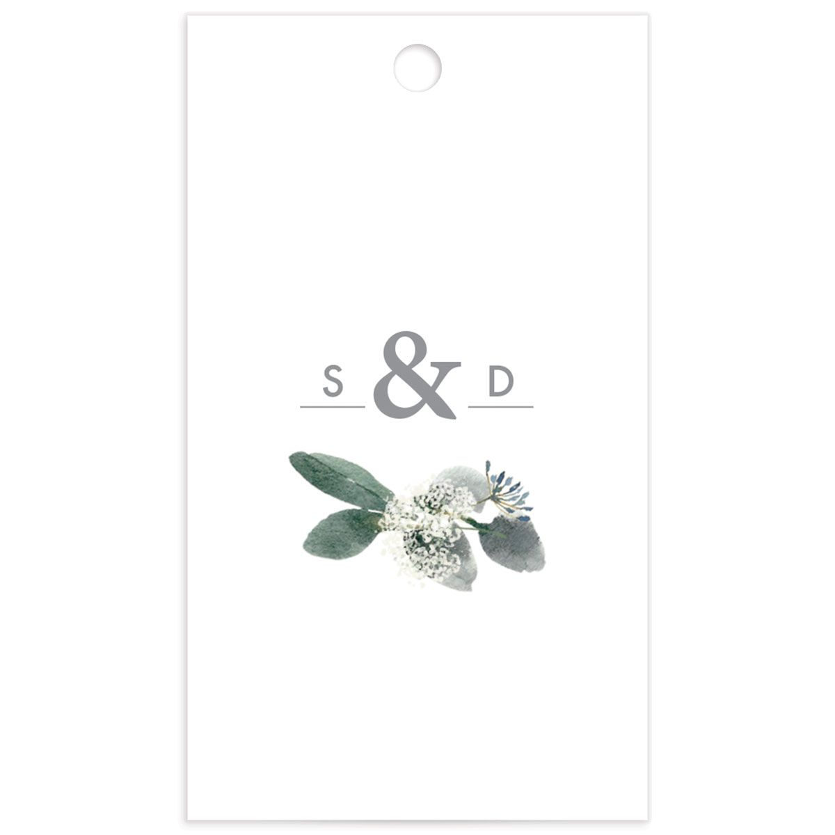 Elegant Greenery gift tag back