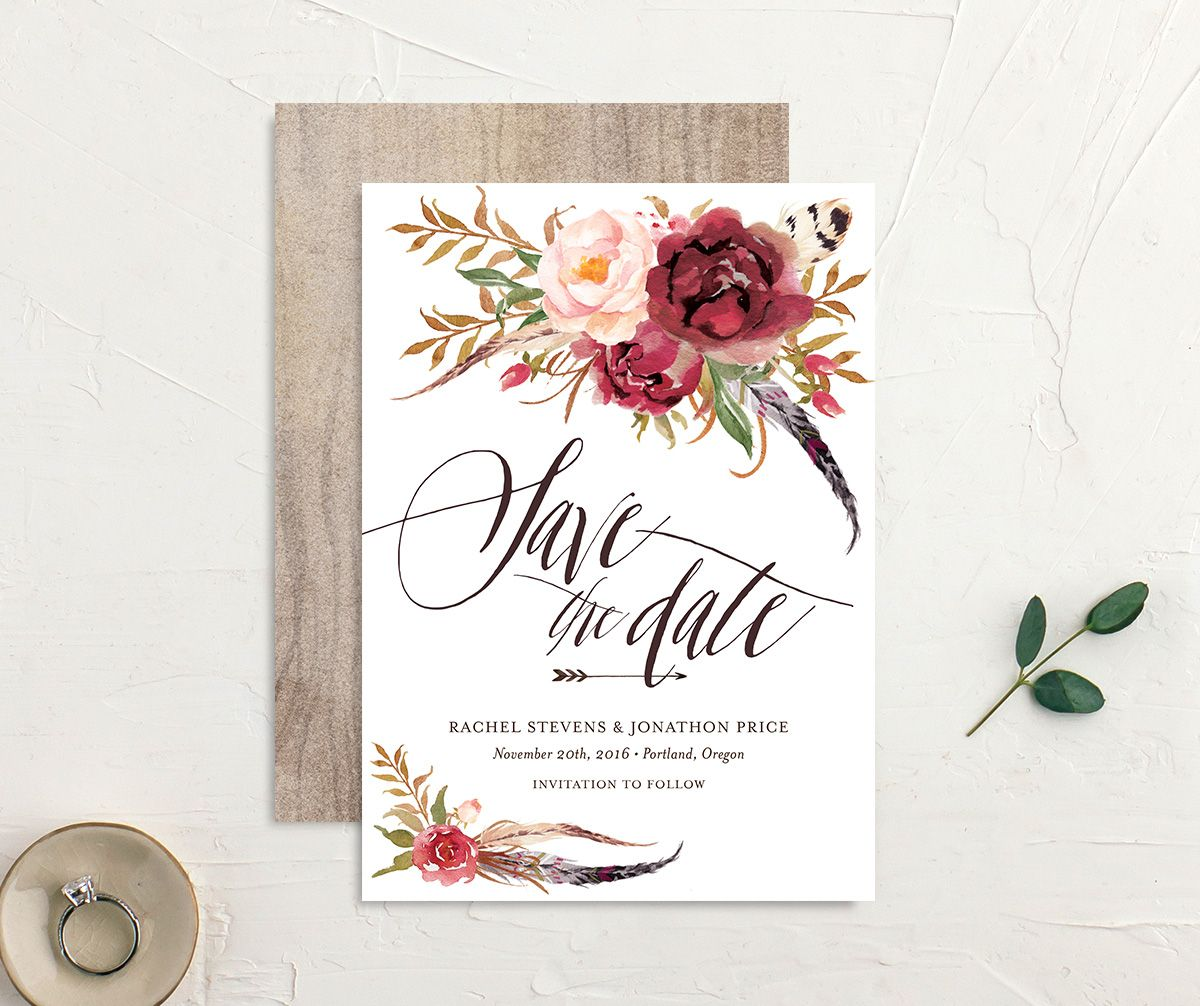 bohemian floral save the dates in burgundy