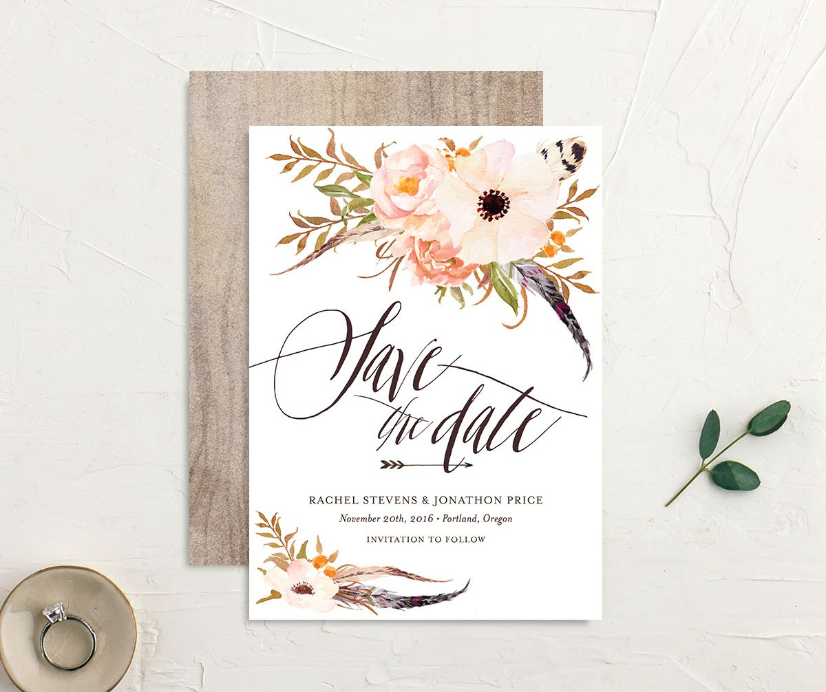 bohemian floral save the dates in peach