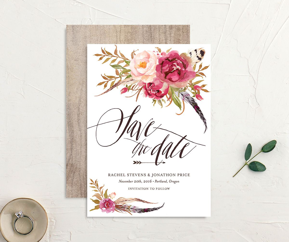 bohemian floral save the dates in pink