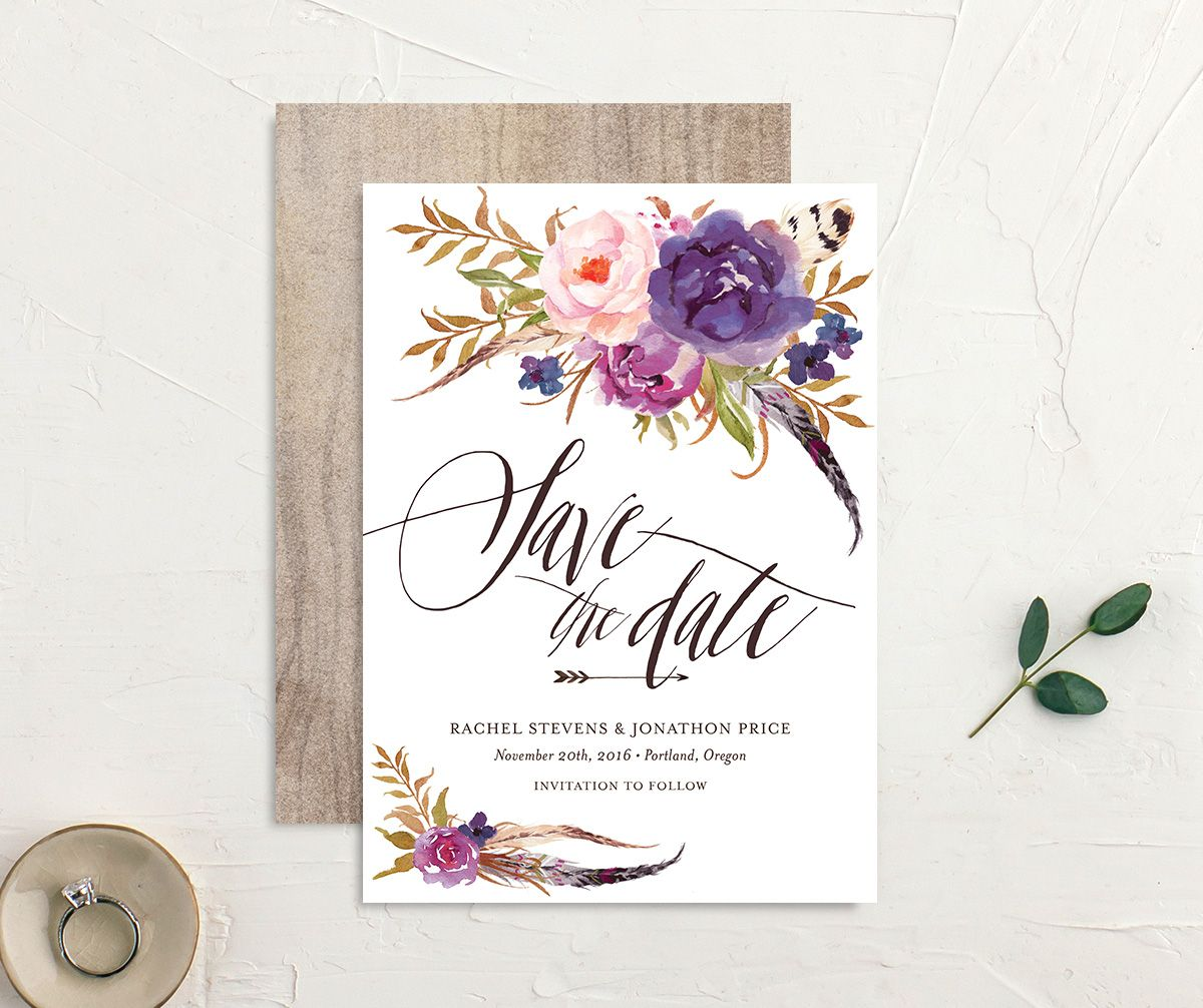 bohemian floral save the dates in purple