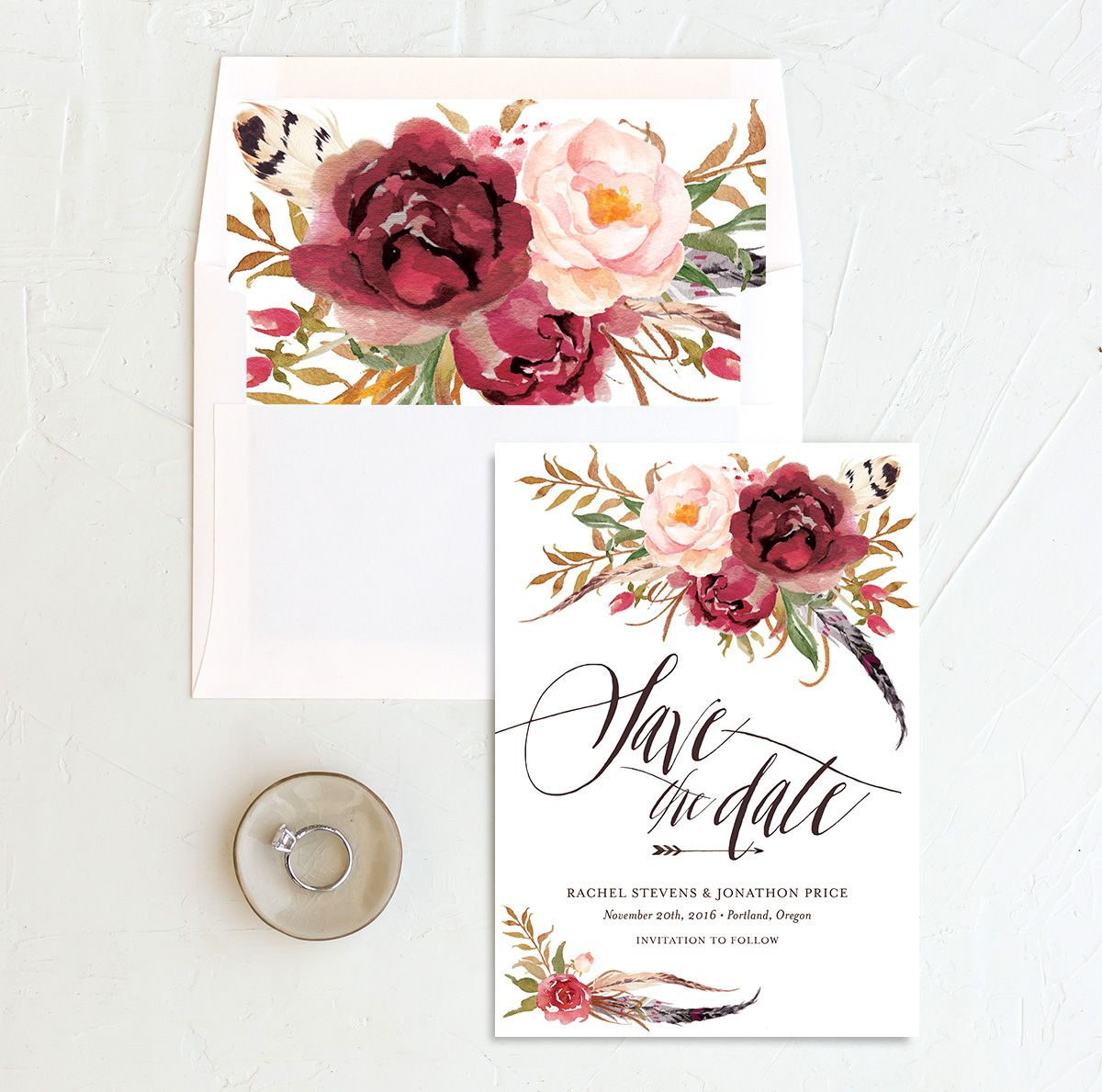 bohemian floral save the date in burgundy with matching envelope liner