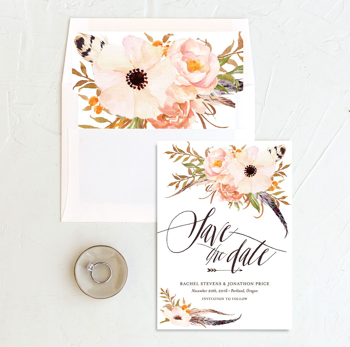bohemian floral save the date in peach with envelope liner