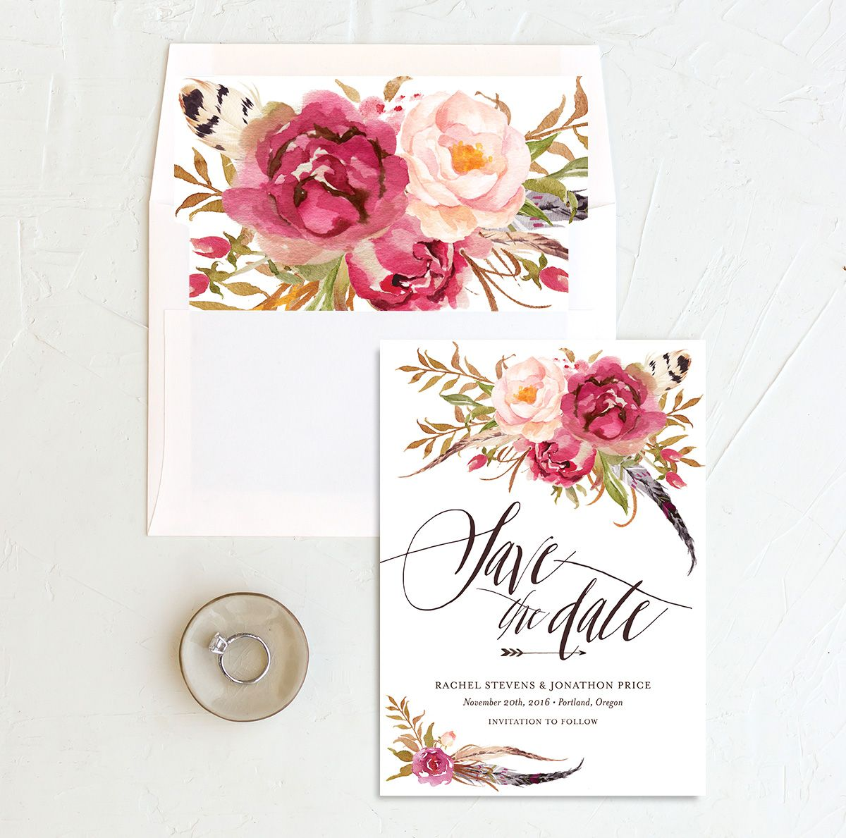 bohemian floral save the date in pink with matching envelope liner