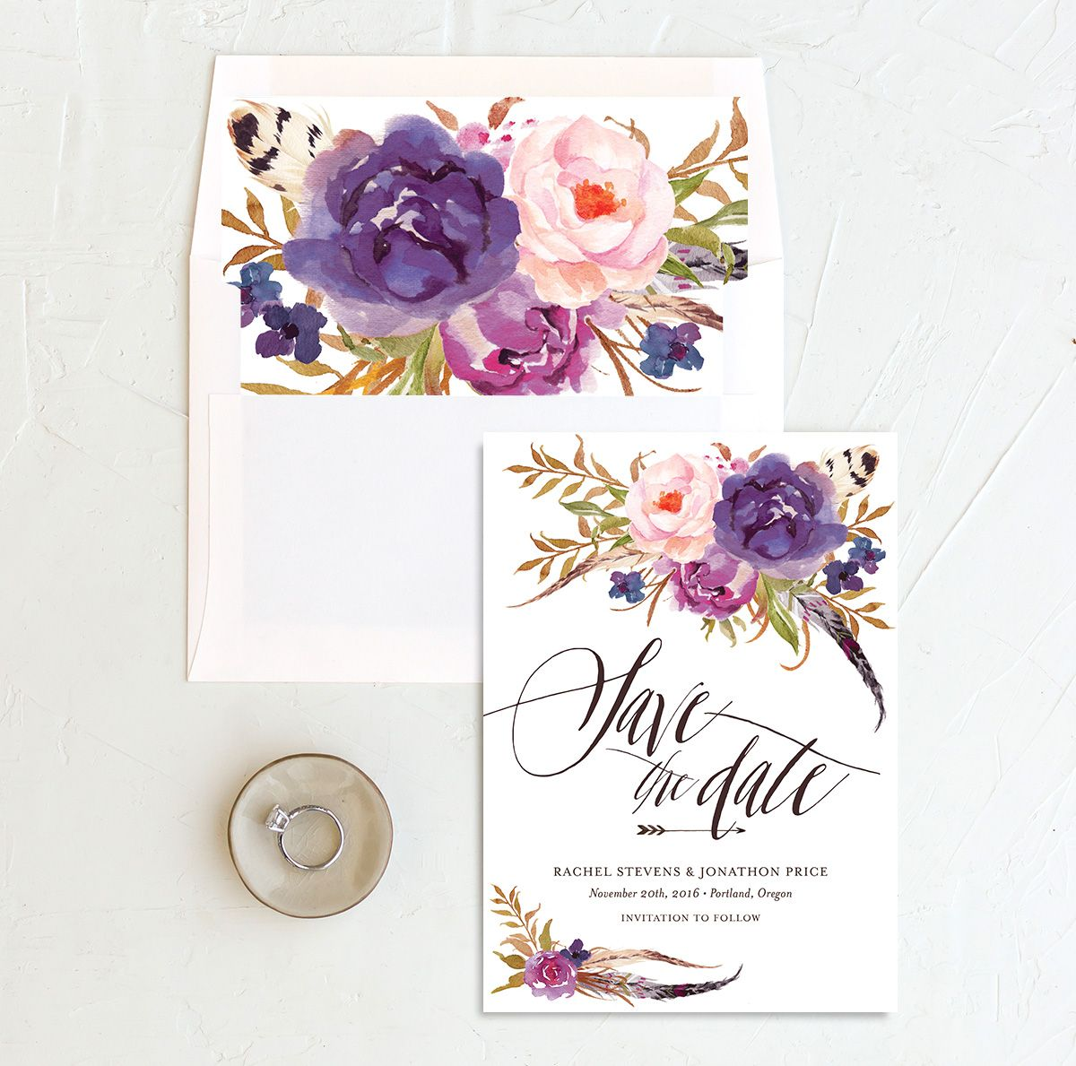 bohemian floral save the date in purple with envelope liners