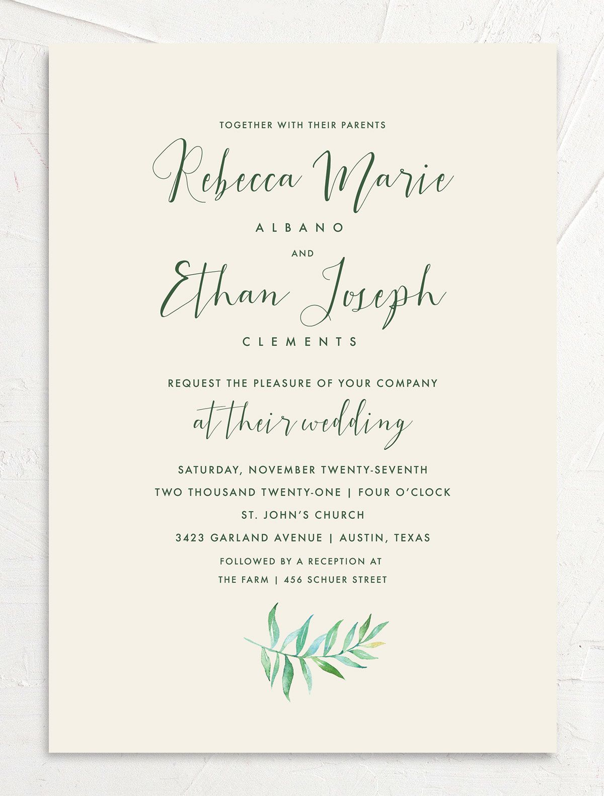 Calligraphic Botanical wedding invitation front cream