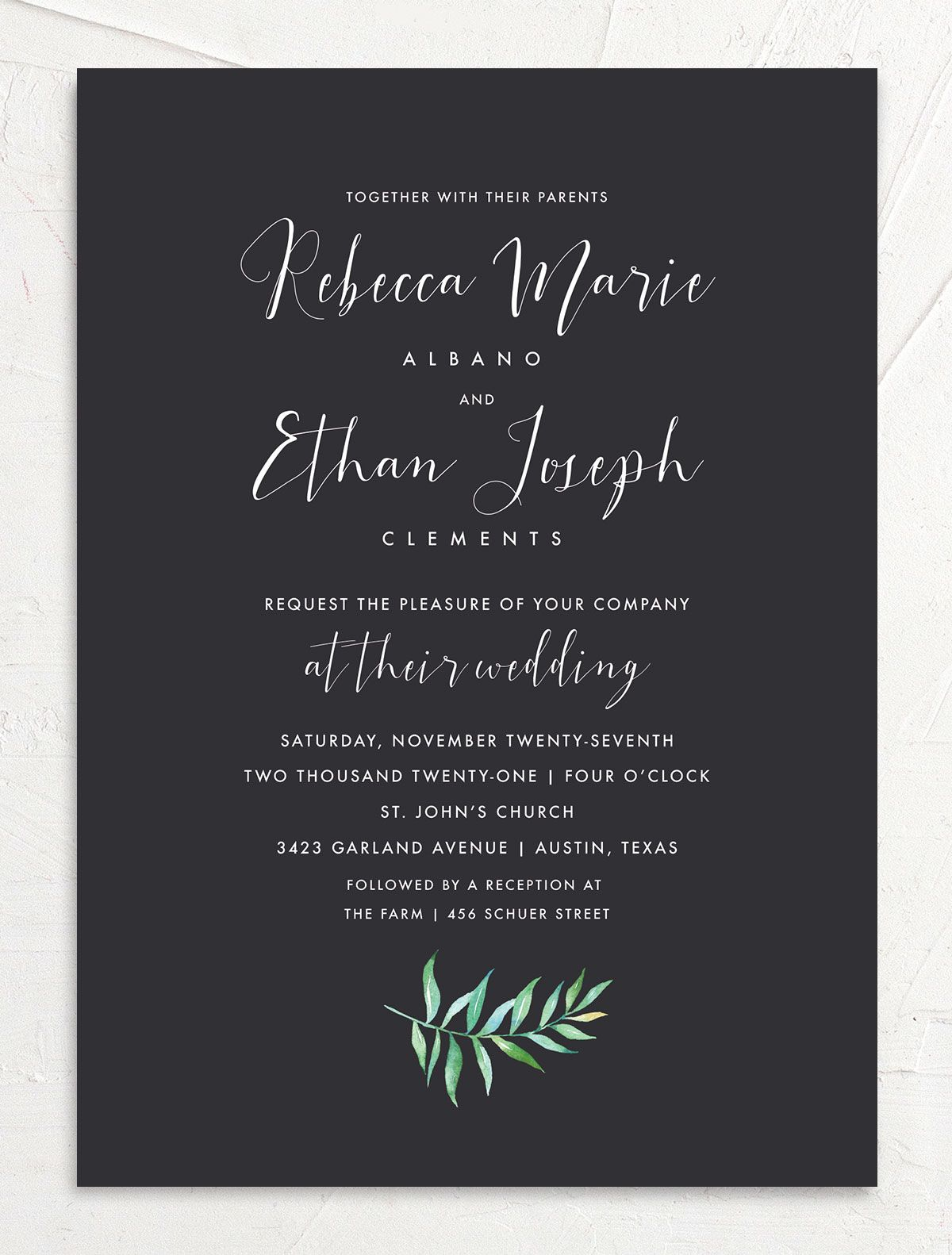 Calligraphic Botanical wedding invitation front gray