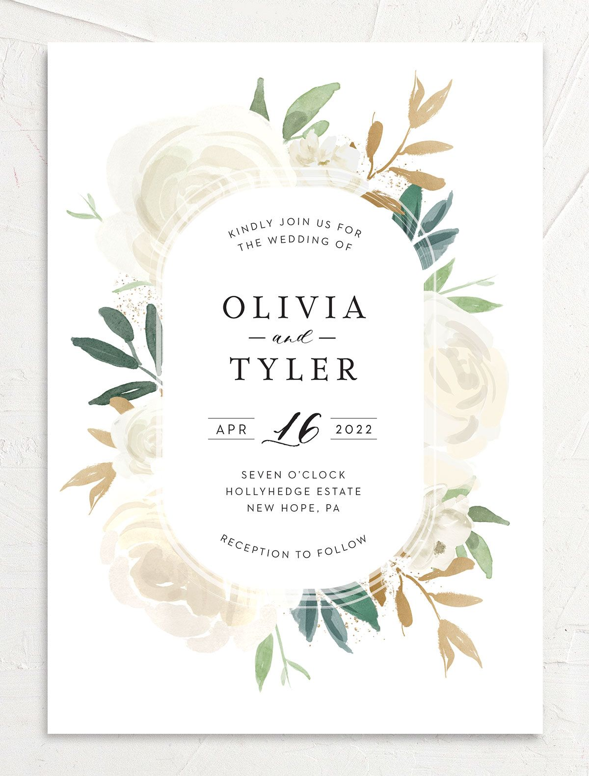 Floral Bouquet wedding invitation front cream