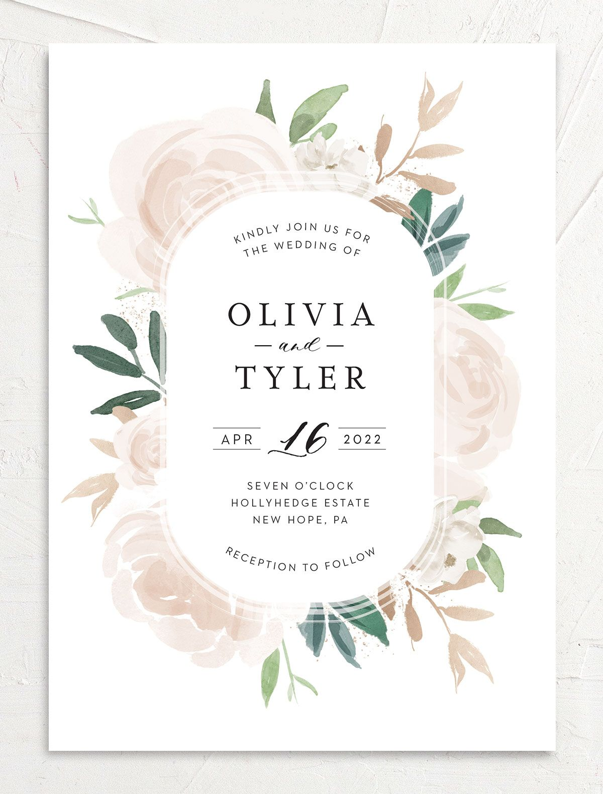 Floral Bouquet wedding invitation front pink