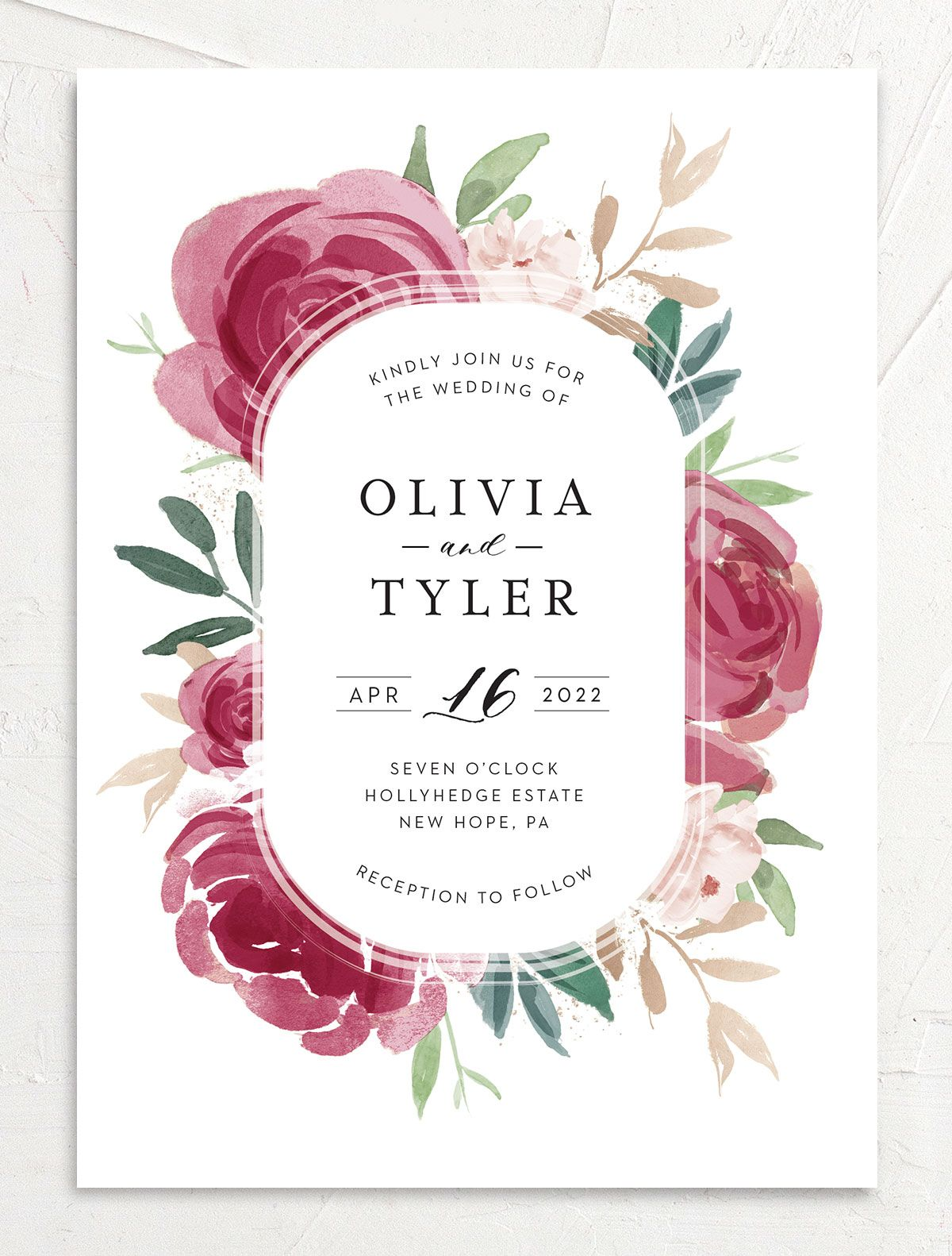 Floral Bouquet wedding invitation front burgundy