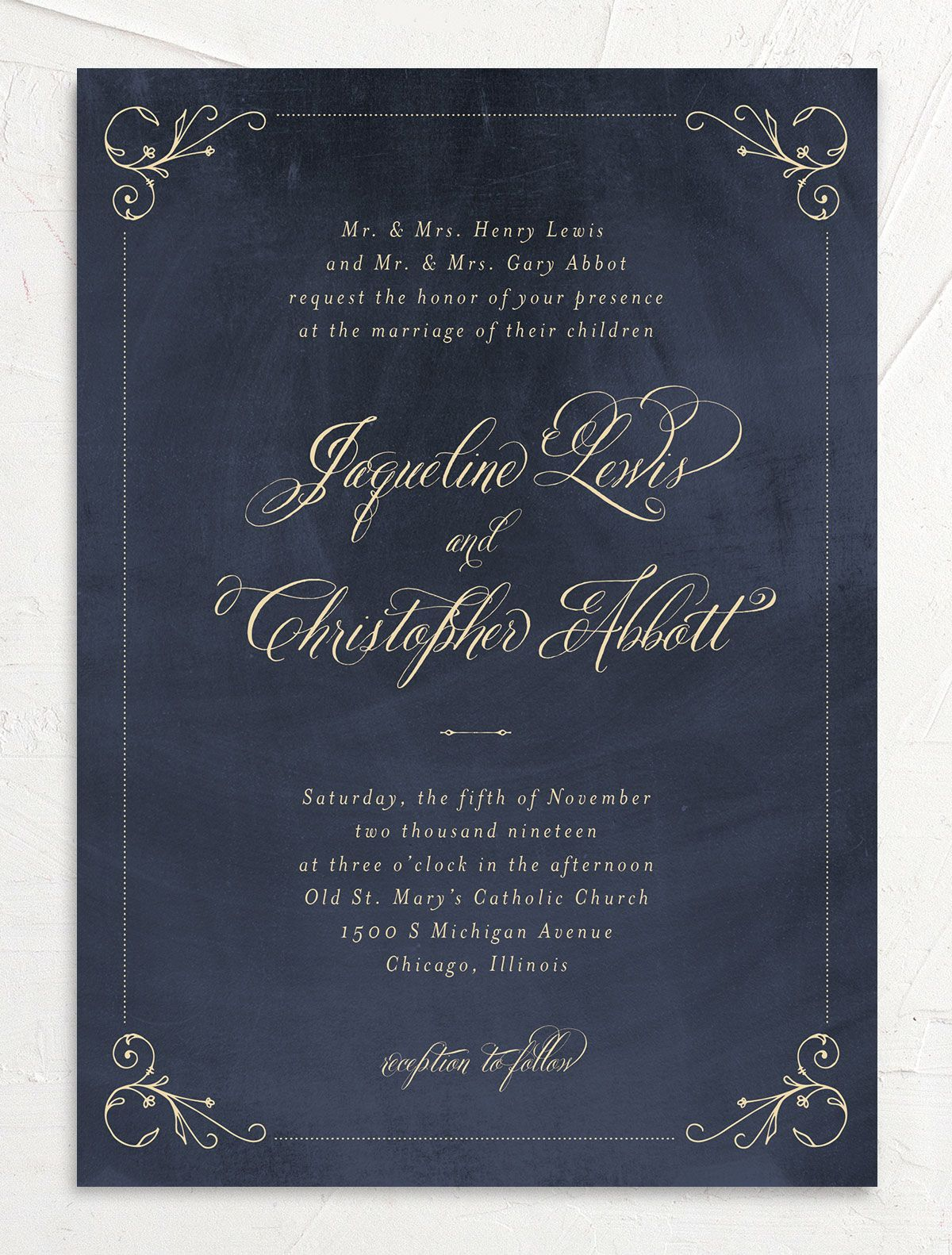 vintage luxe wedding invites in navy