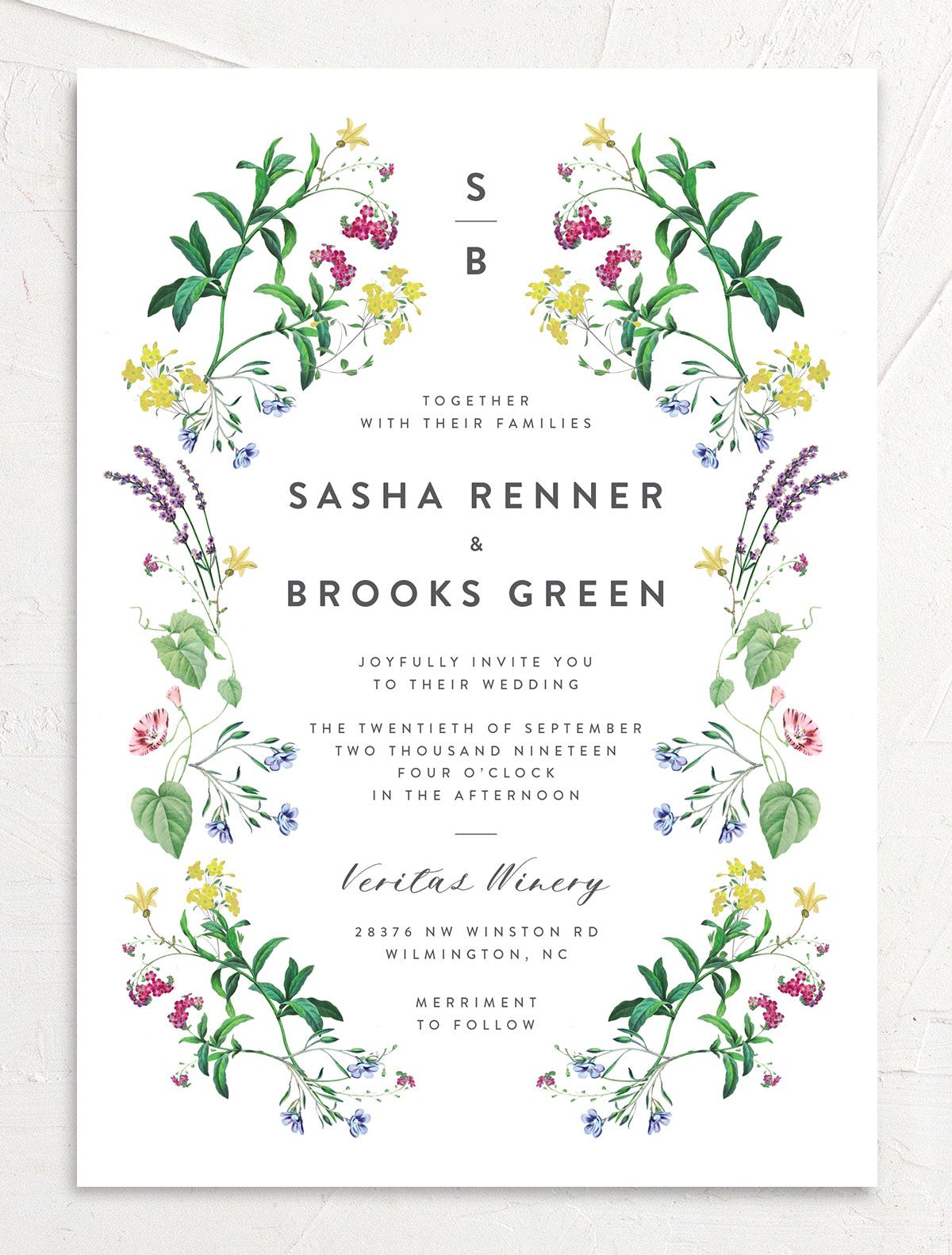 enchanted wildflower wedding invitation in green