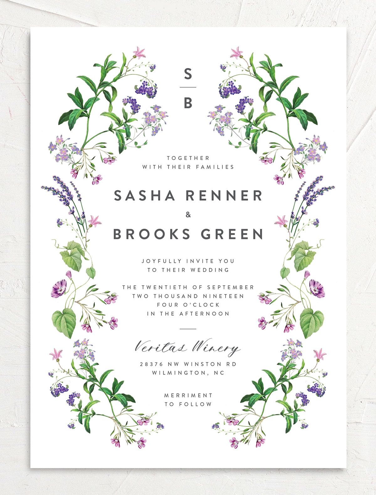 enchanted wildflower wedding invitation in purple