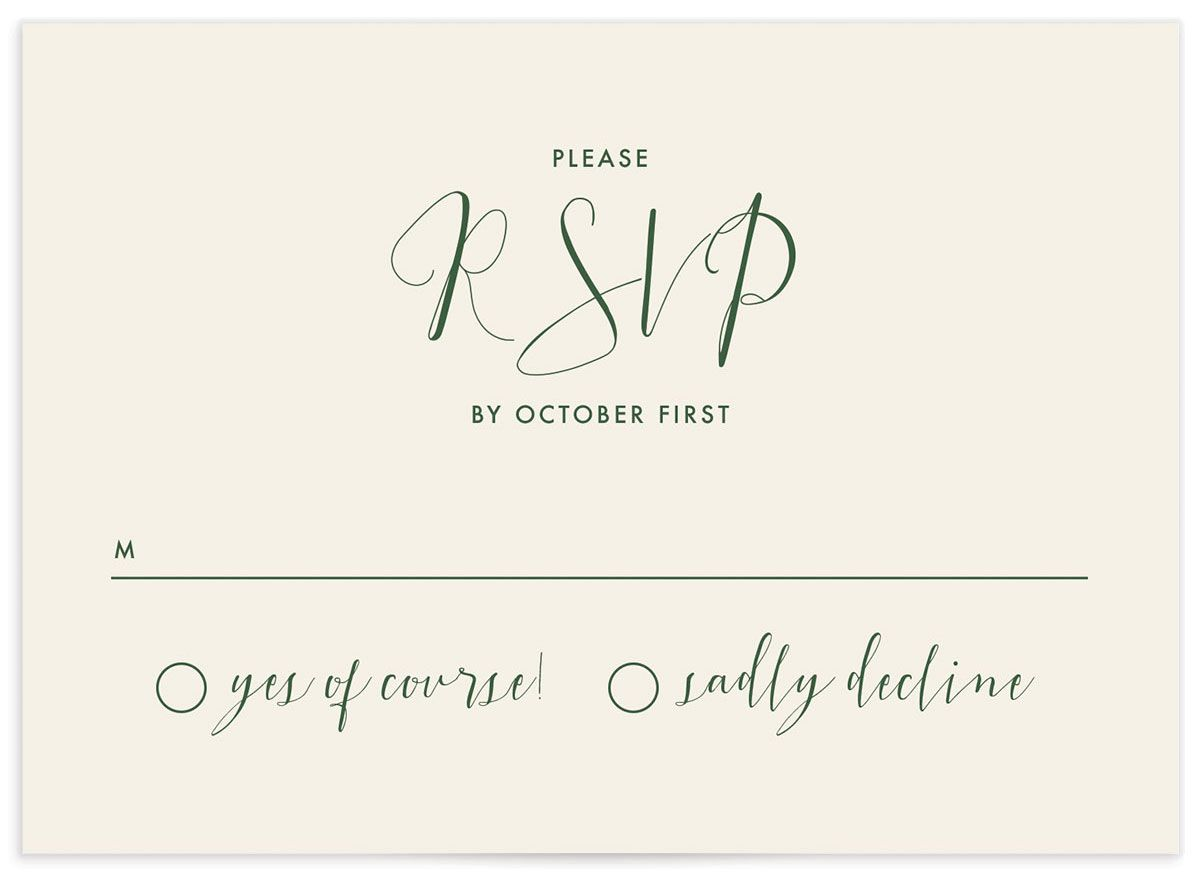 Calligraphic Botanical response card front cream