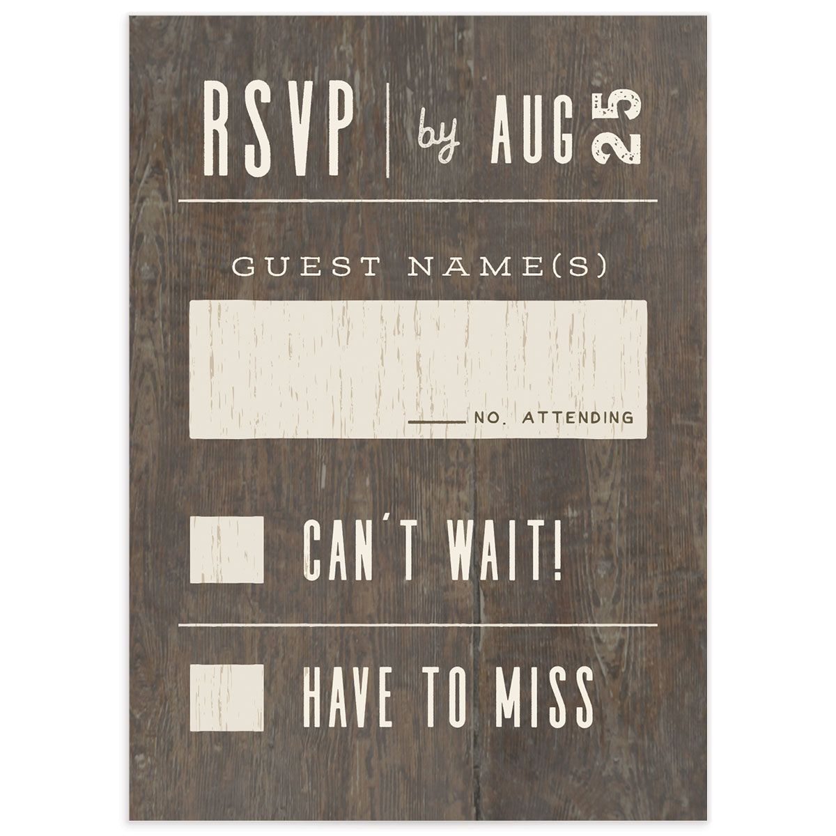Custom State wedding RSVP front