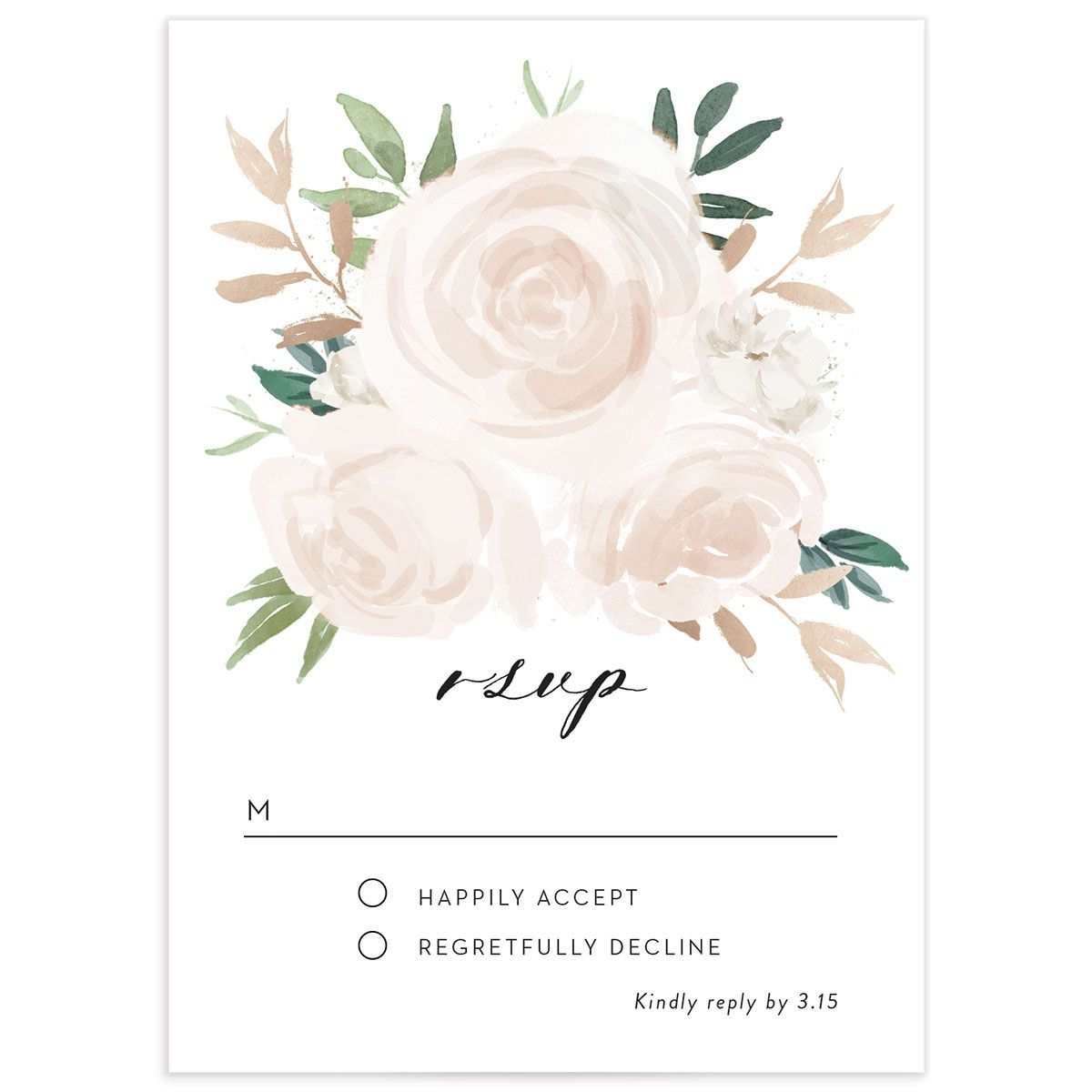 floral bouquet rsvp cards in pink