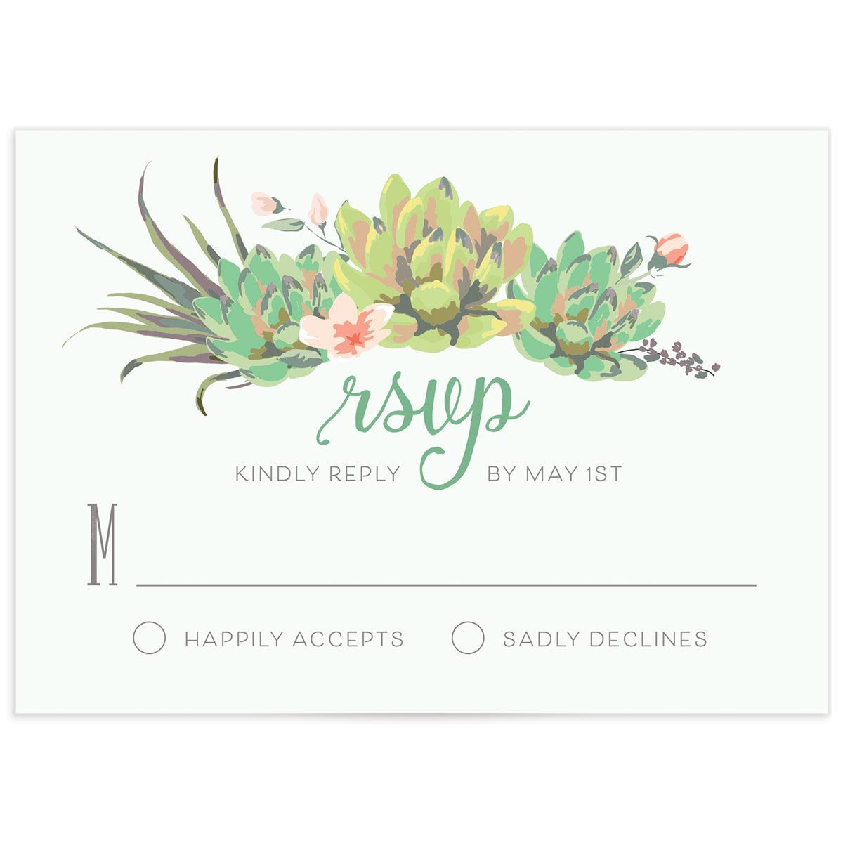 Romantic Succulents response card grn