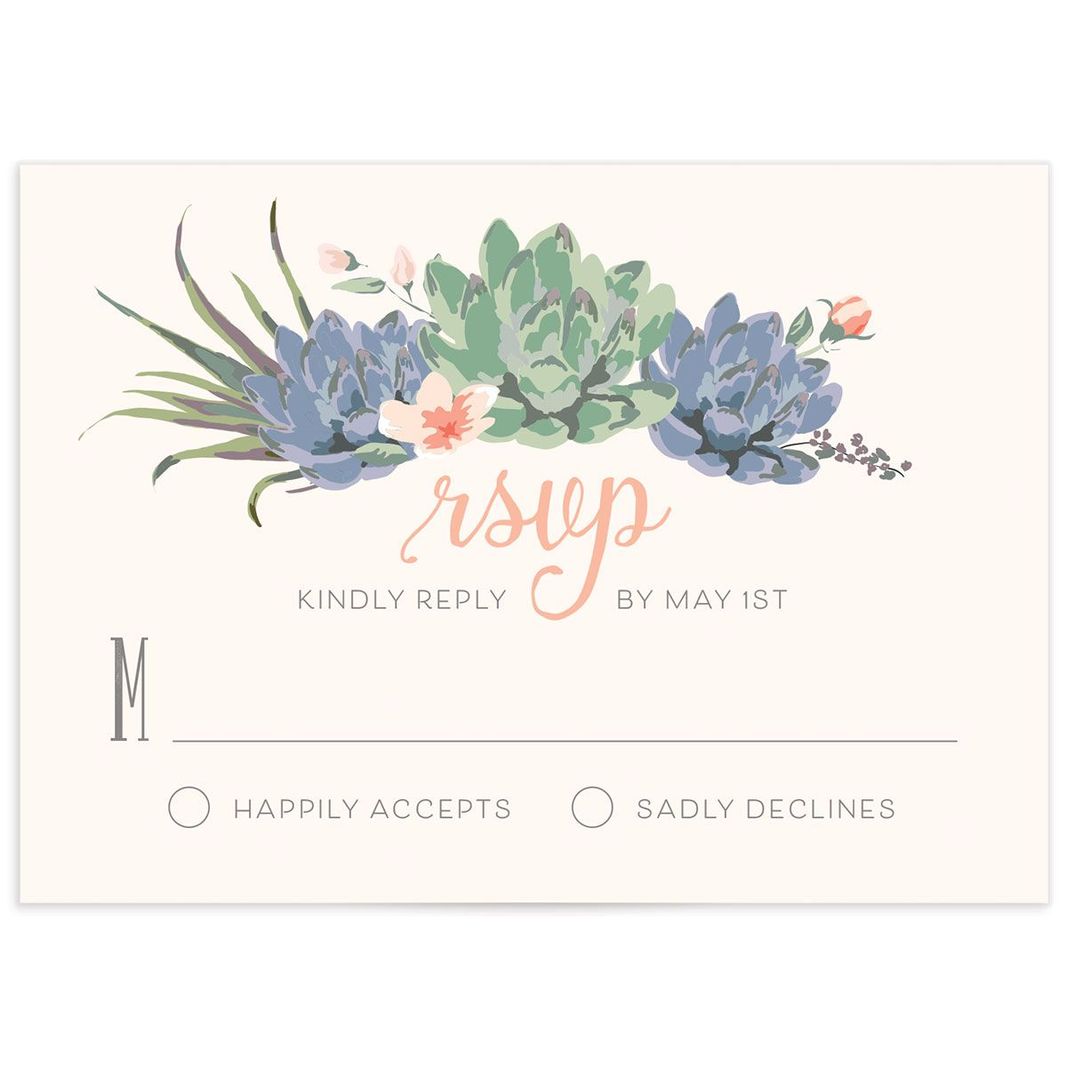 Romantic Succulents response card pnk
