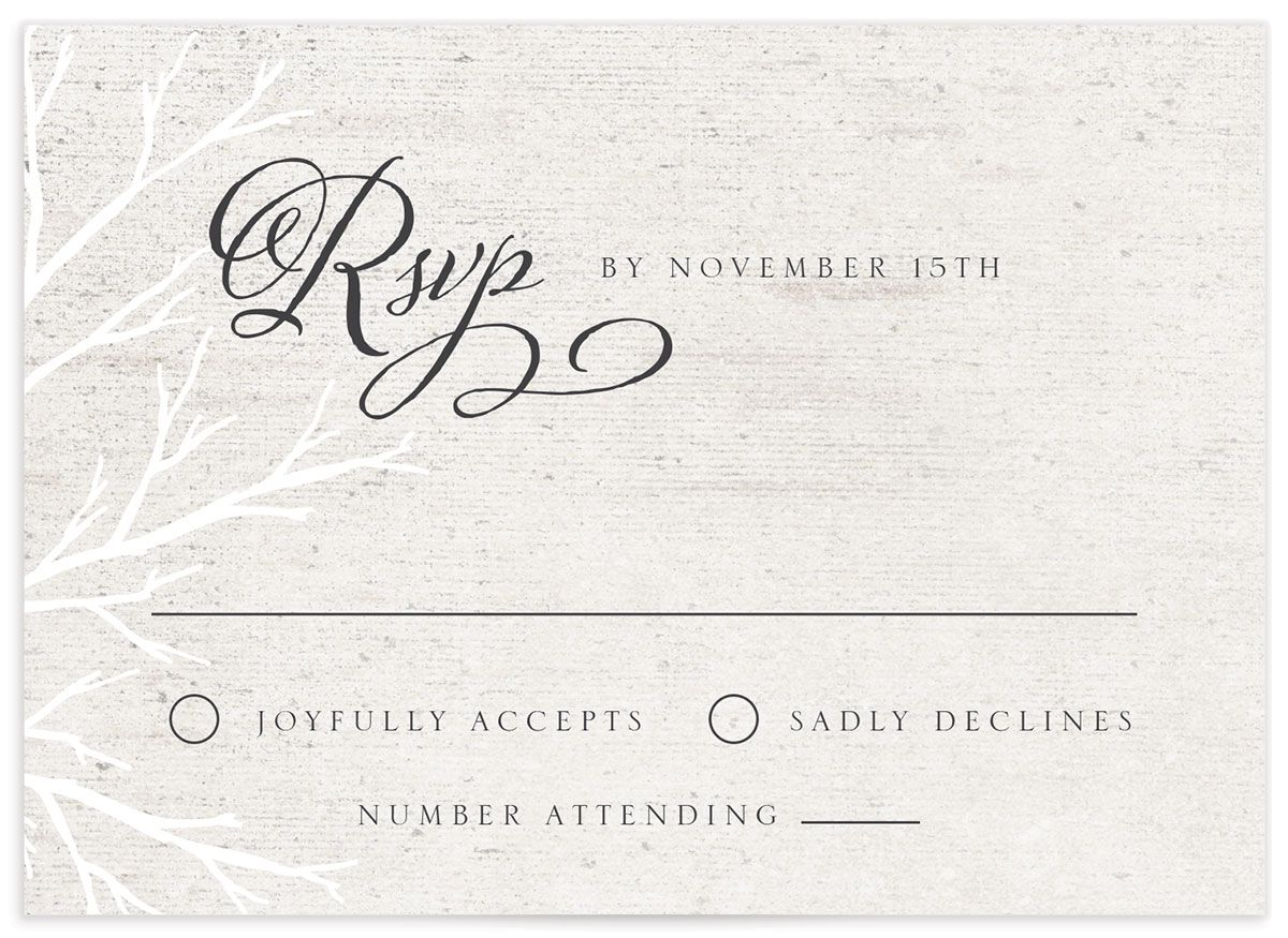 Rustic Birch RSVP card front
