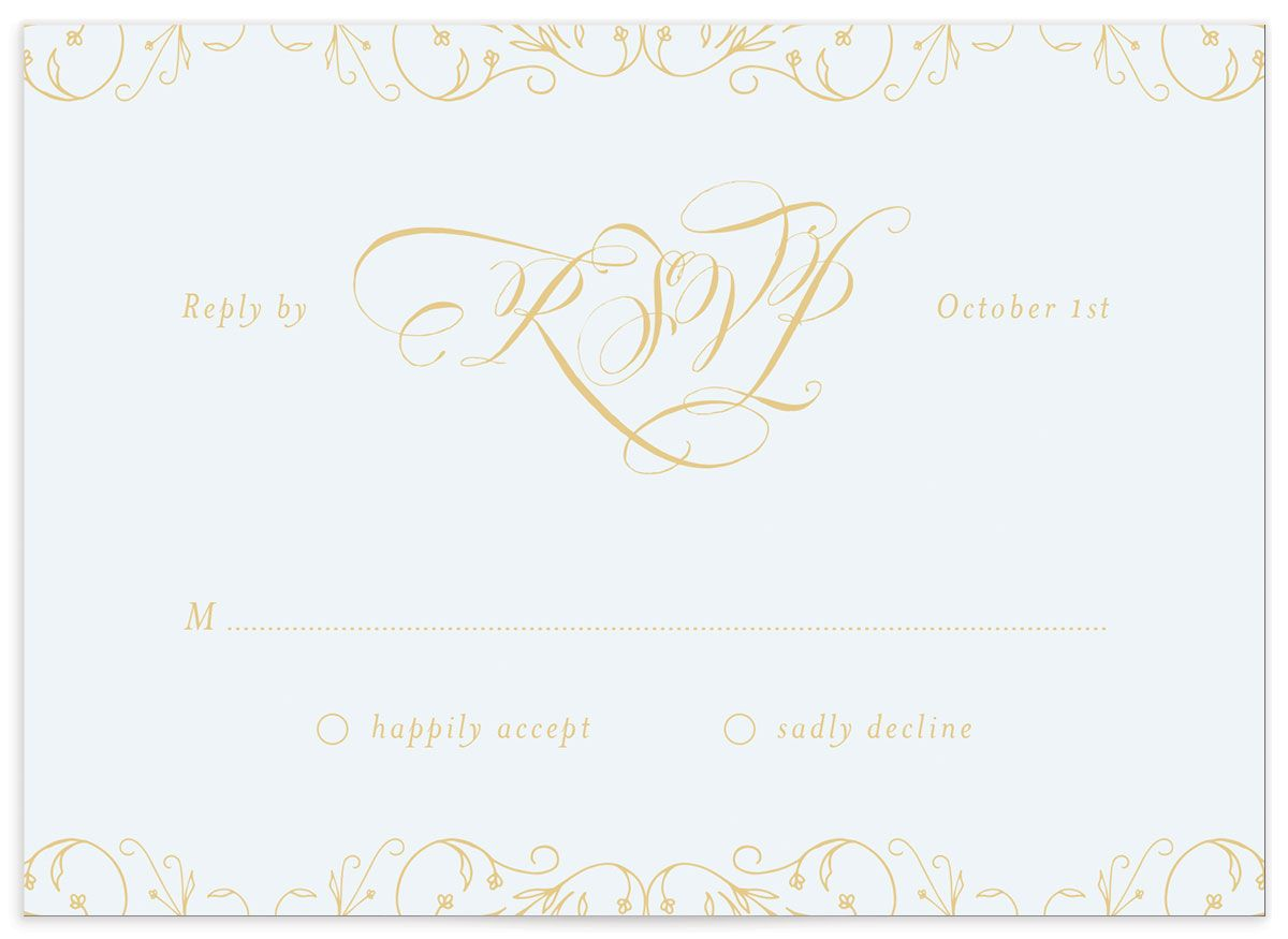 vintage luxe wedding rsvp card in blue