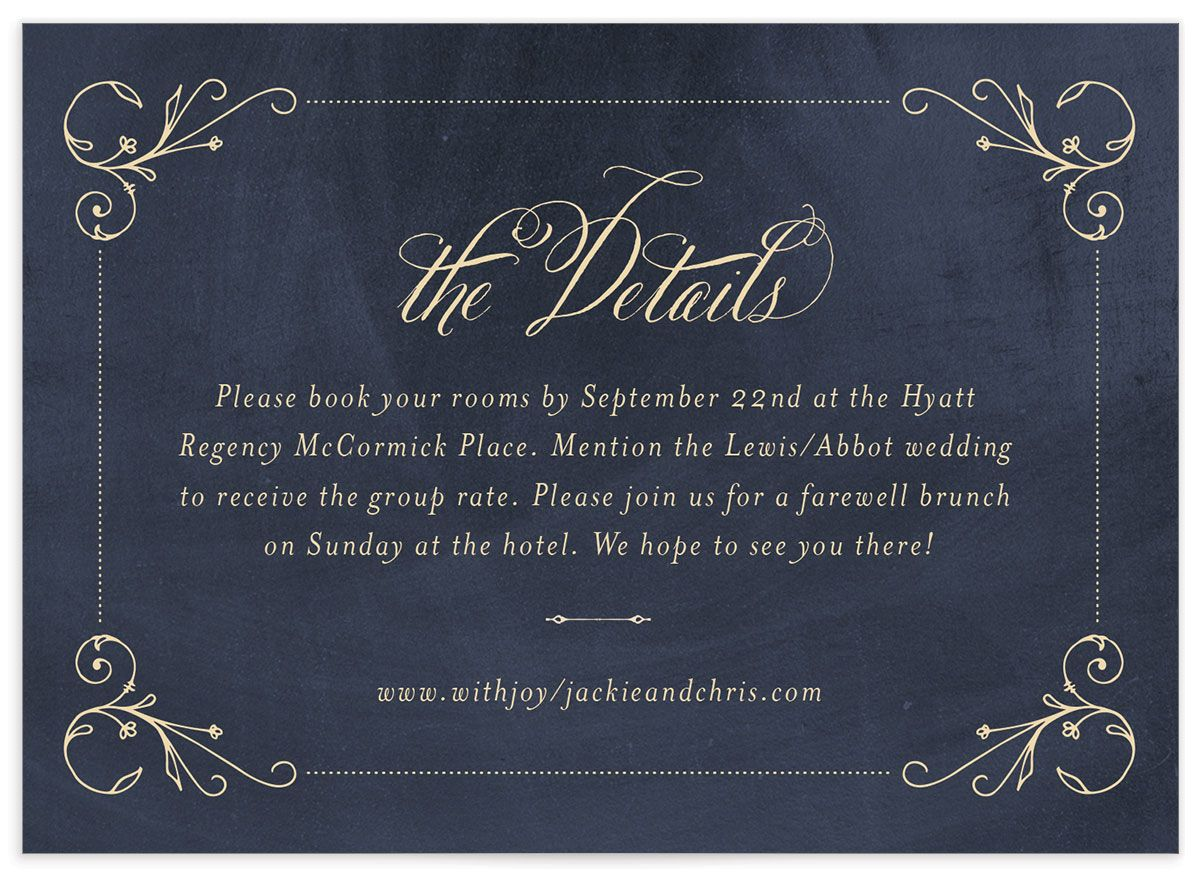 vintage luxe wedding enclosure card in navy