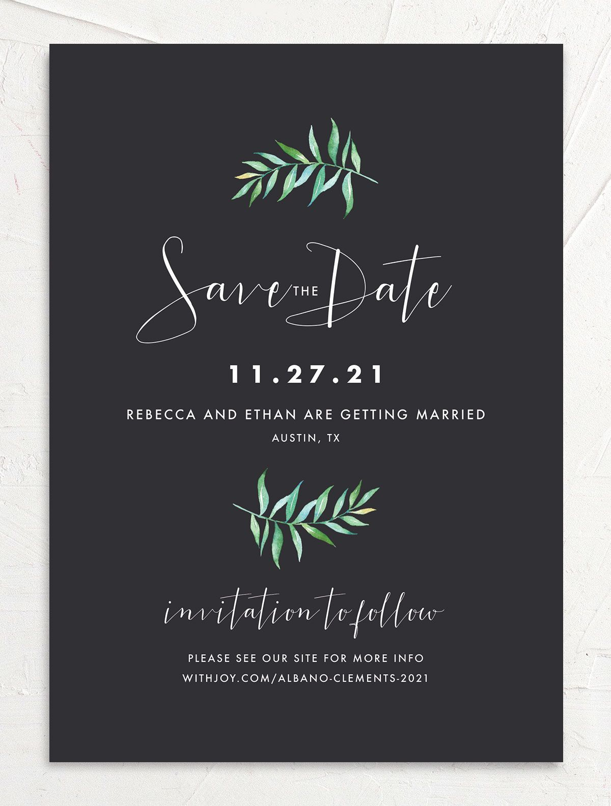 Calligraphic Botanical save the date front gray