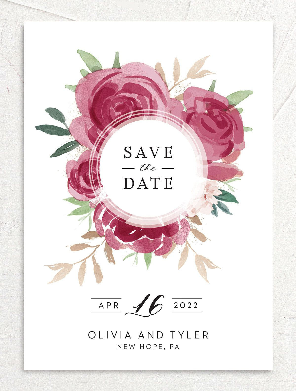 Floral Bouquet wedding save the date front burgundy