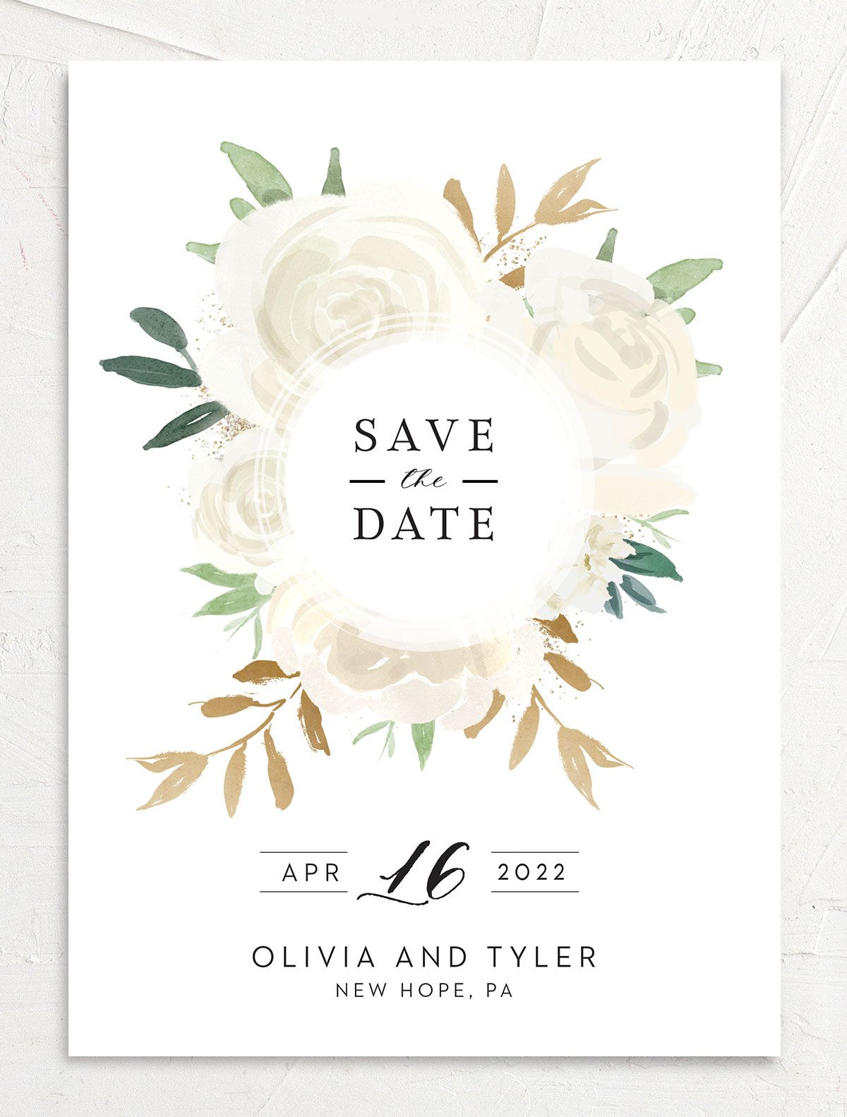 Floral Bouquet wedding save the date front cream