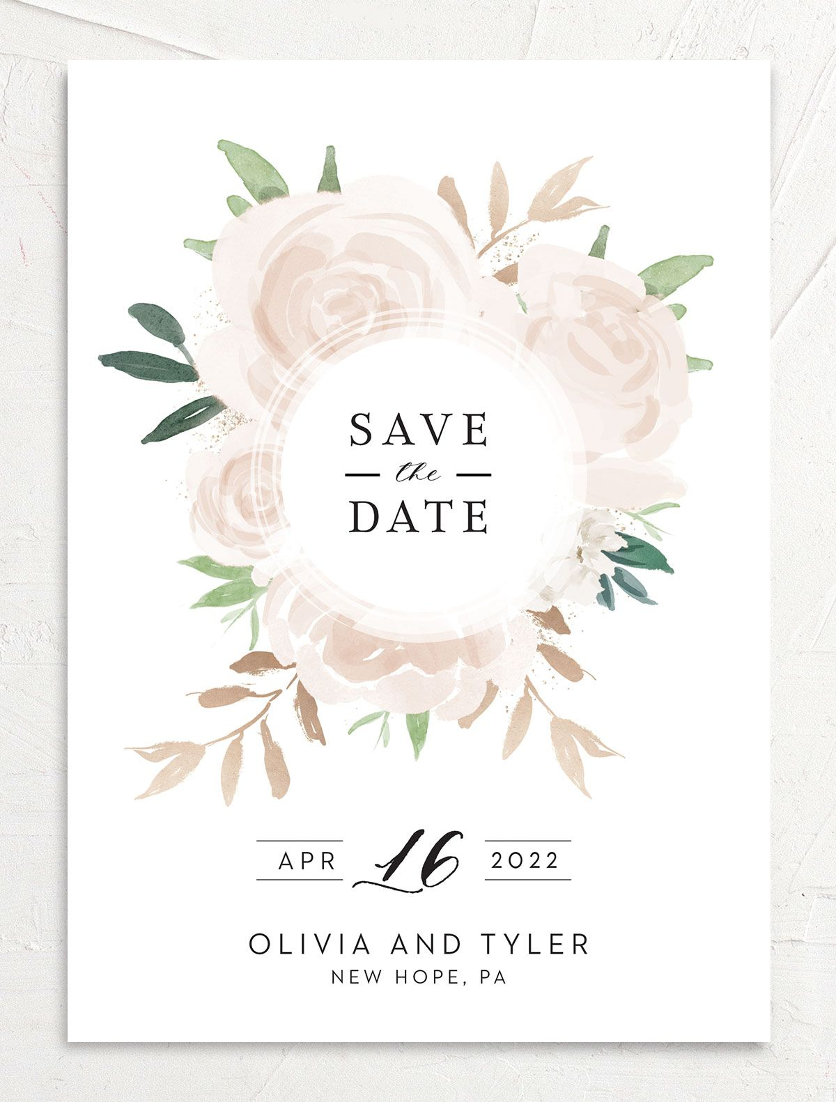 Floral Bouquet wedding save the date front pink