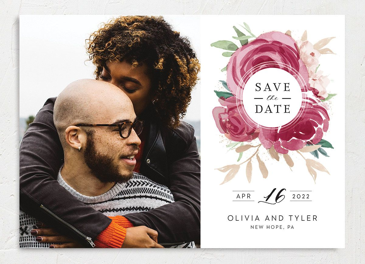 Floral Bouquet Photo Save the date burgundy front