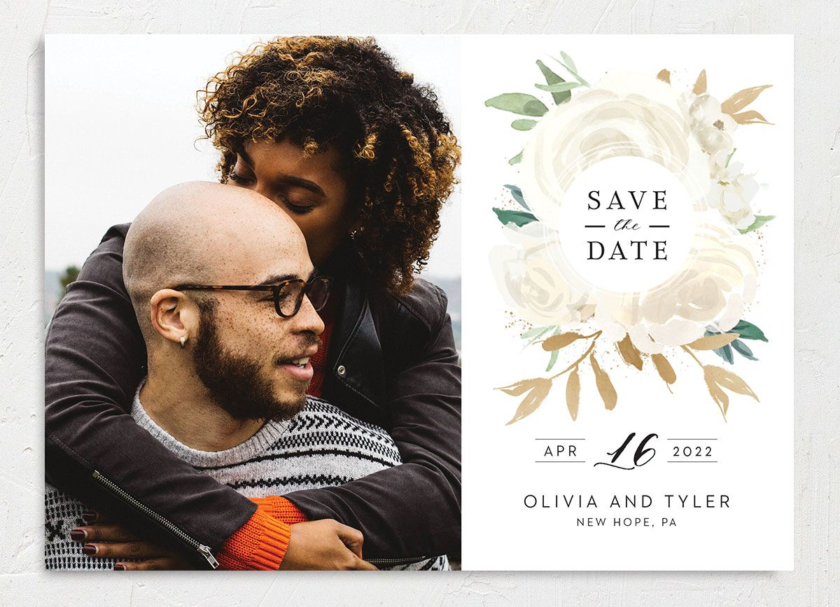 Floral Bouquet Photo Save the date cream front