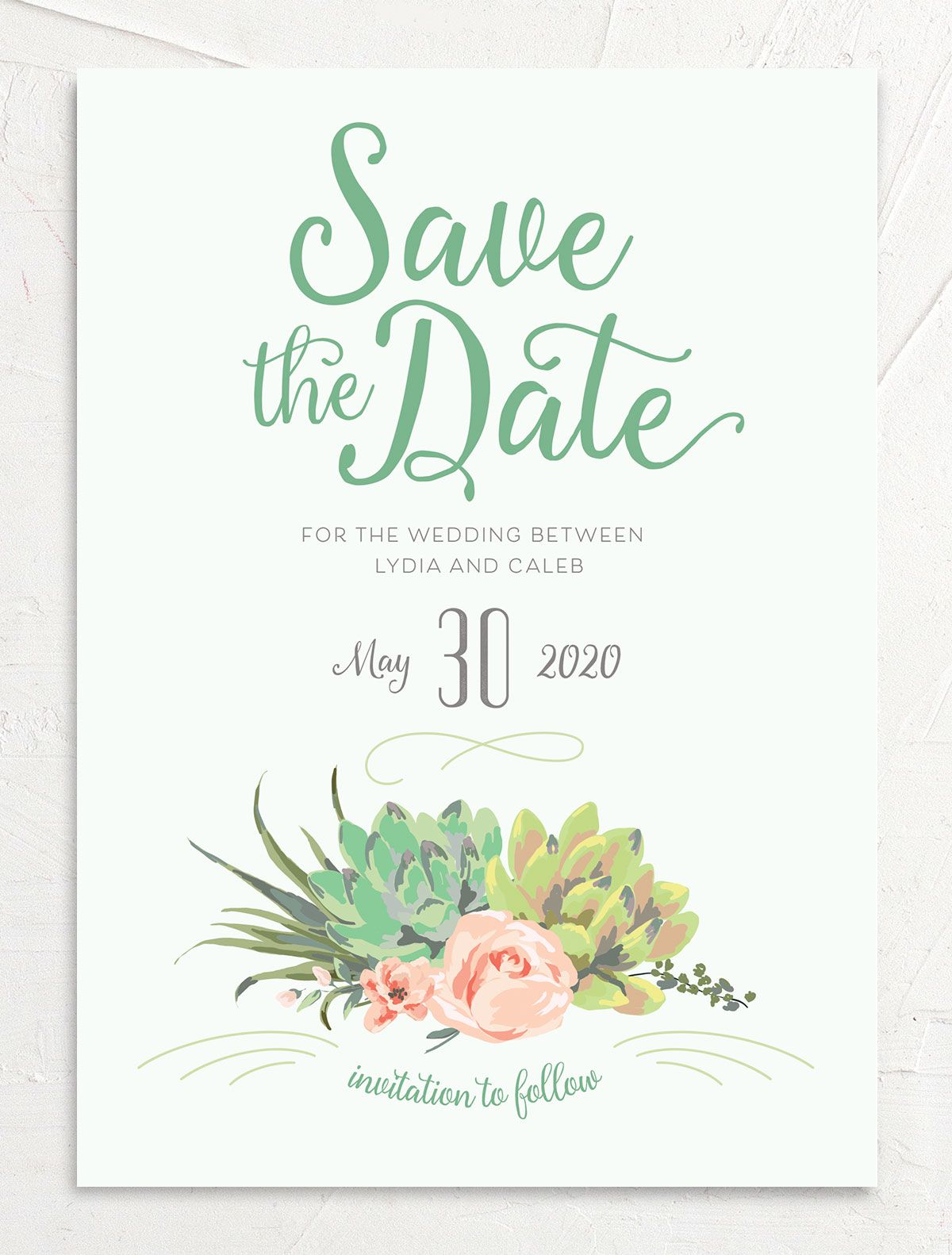 Romantic Succulents save the date green front
