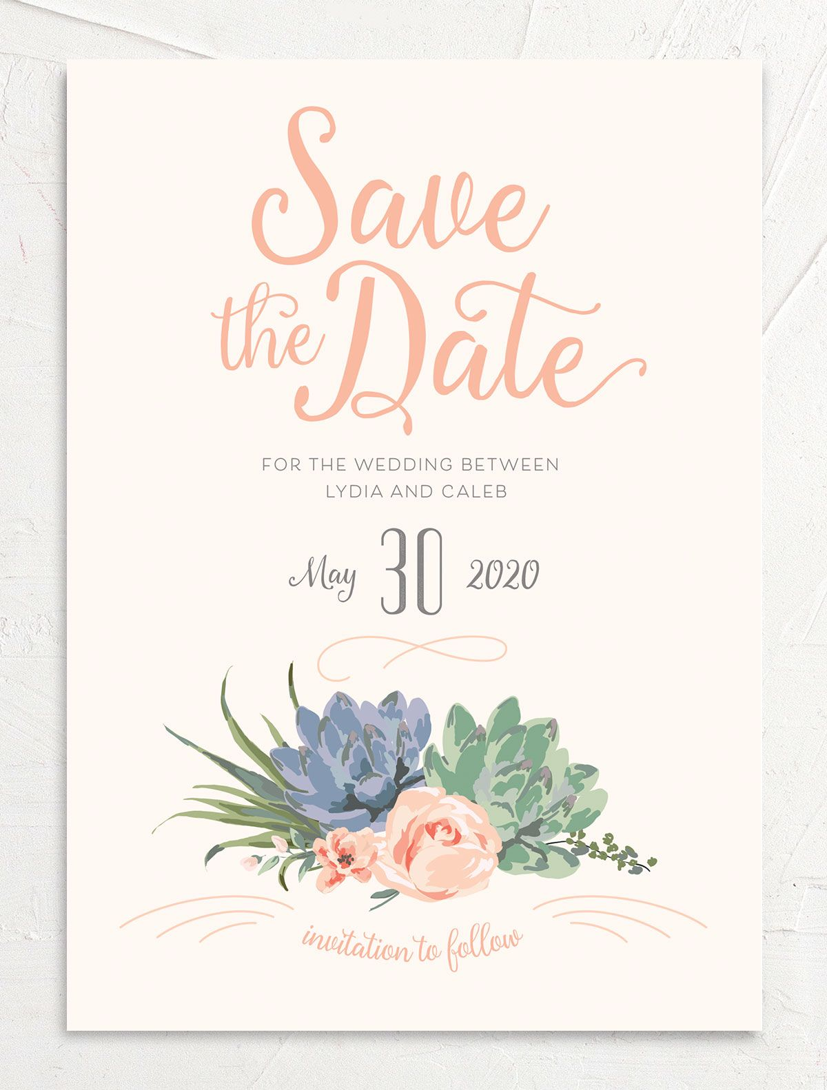 Romantic Succulents save the date pnk front