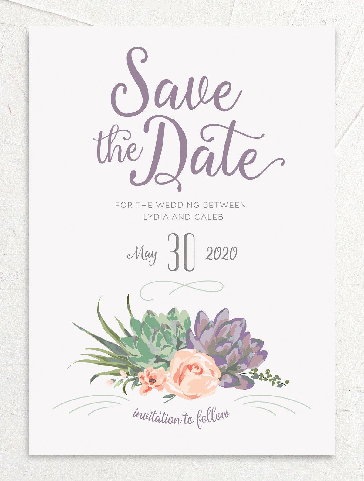 Romantic Succulents save the date pur