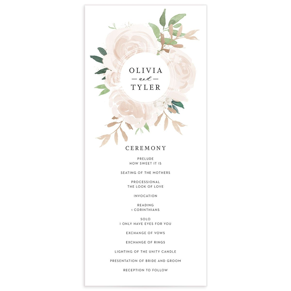 floral bouquet wedding programs in pink