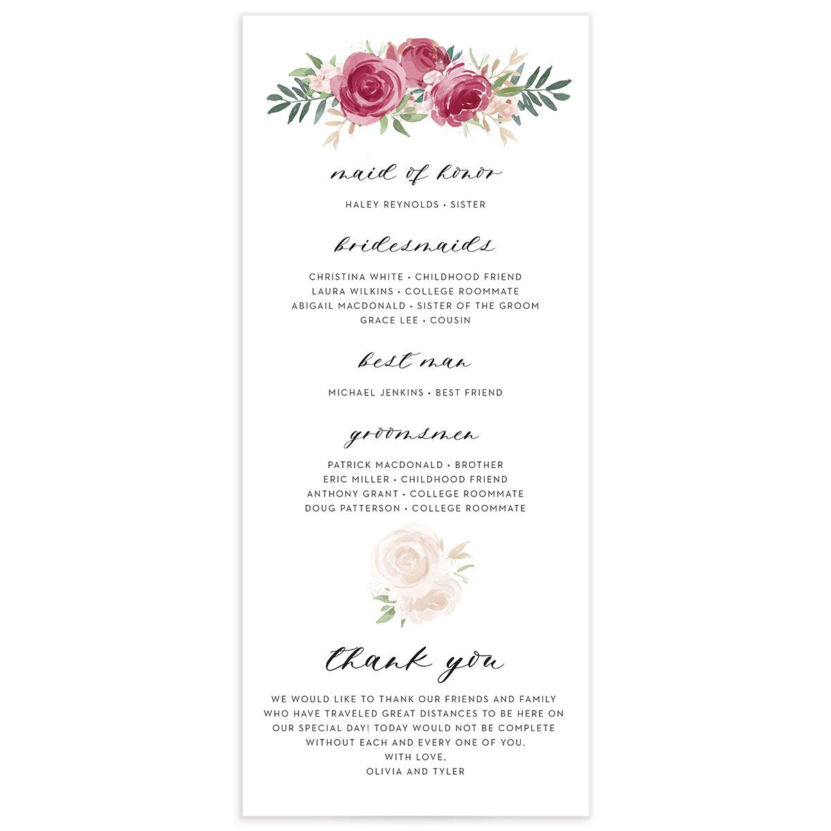 floral bouquet wedding programs in burgundy