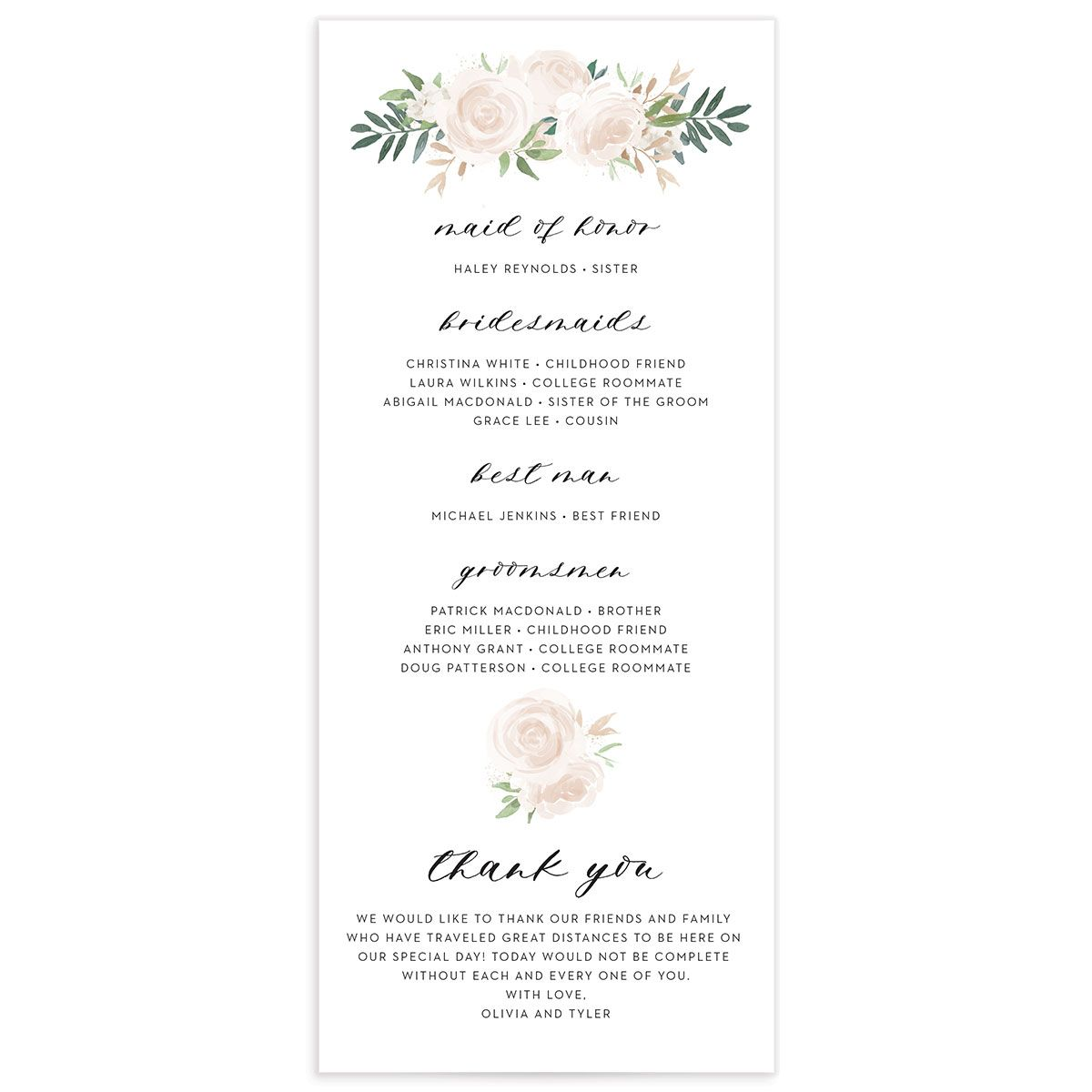 floral bouquet wedding programs in pink back