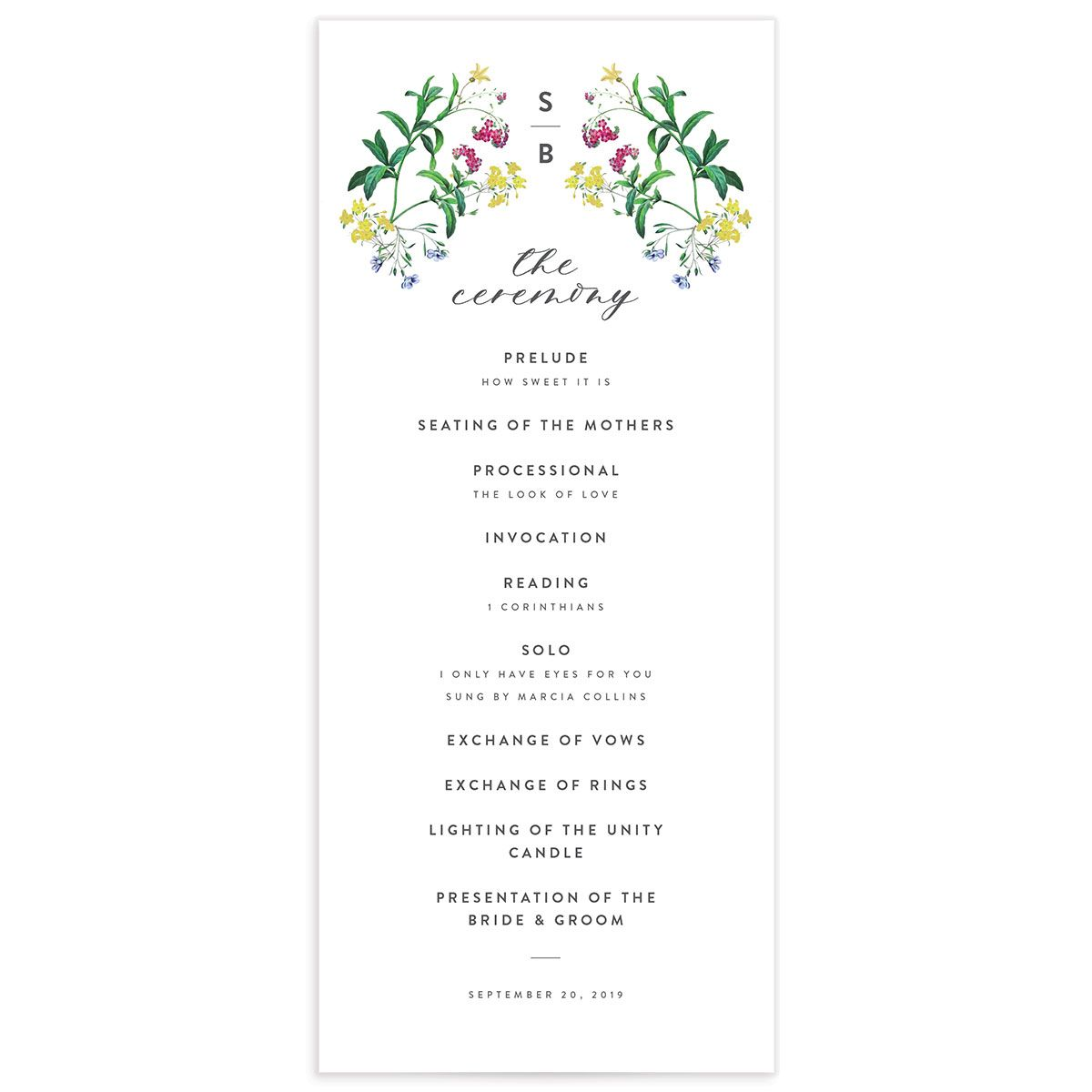 enchanted wildflower wedding programs in green