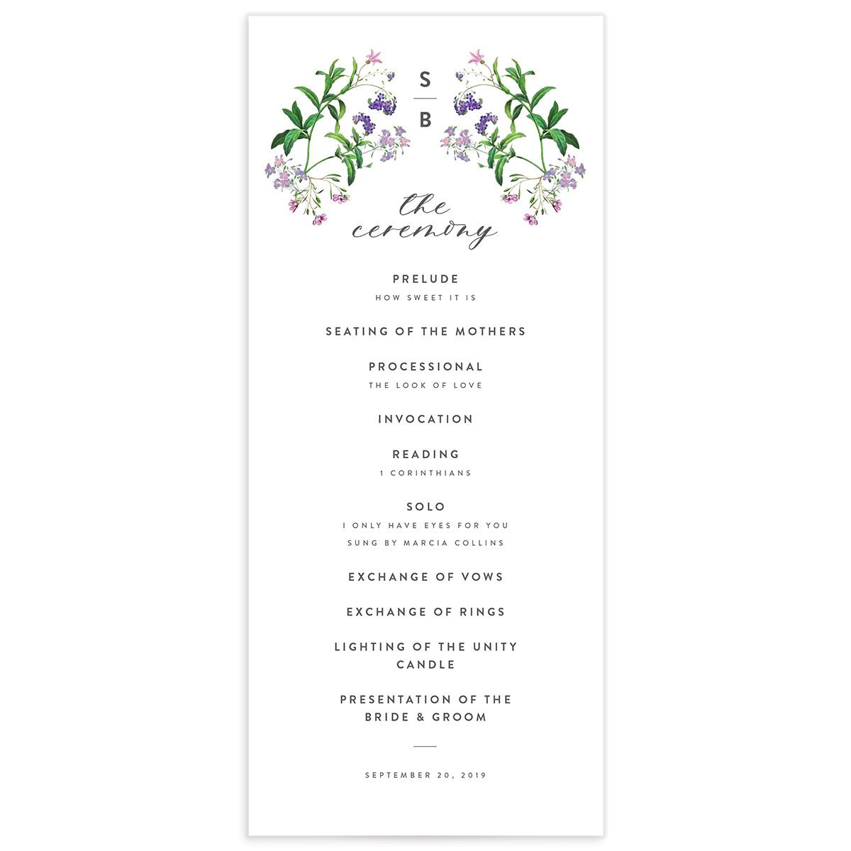 enchanted wildflower wedding programs