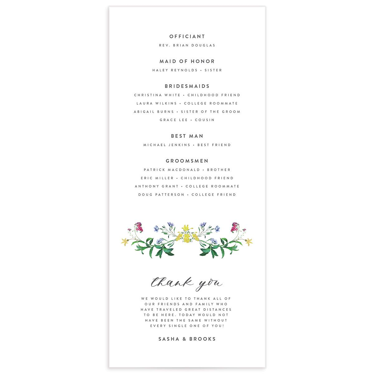 enchanted wildflower wedding programs in green back