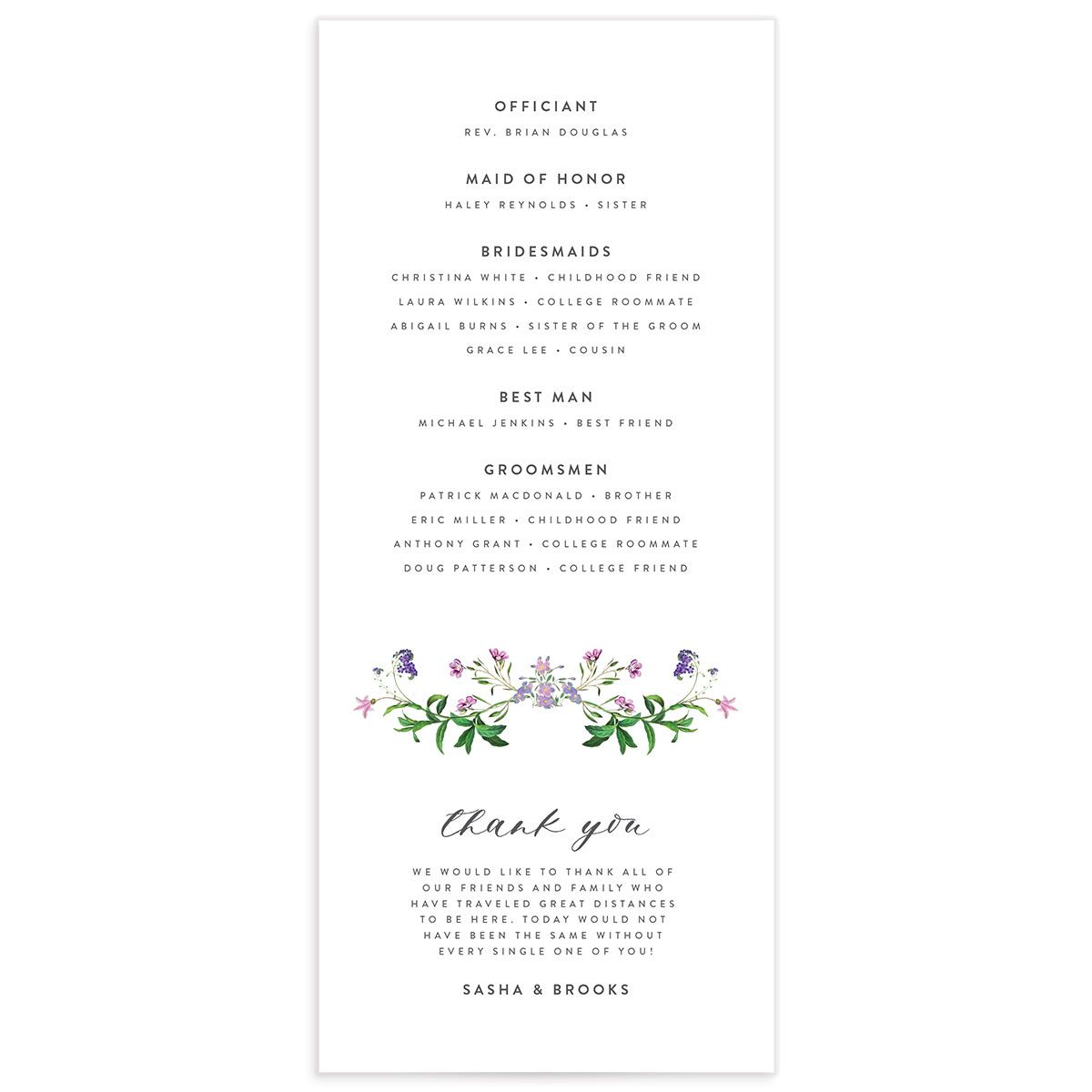 enchanted wildflower wedding programs back
