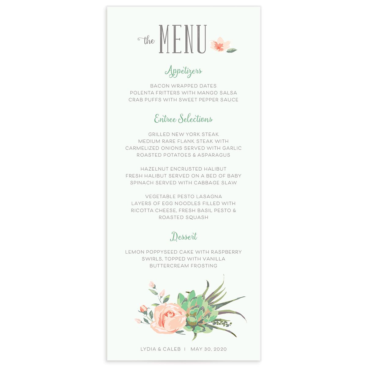 Romantic Succulents menu grn