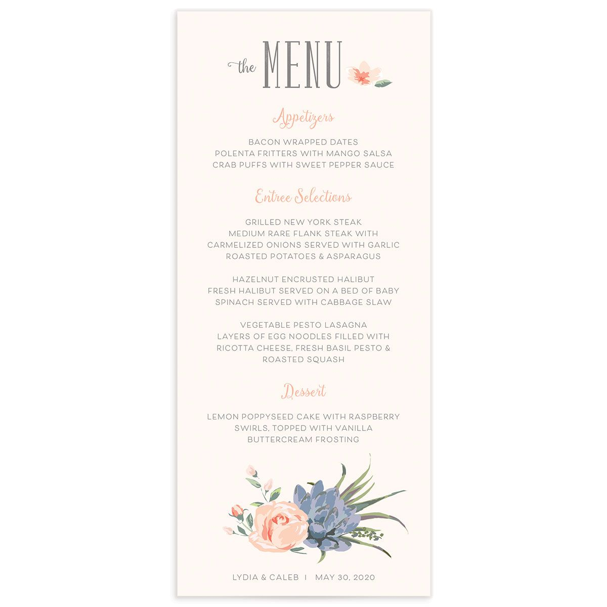 Romantic Succulents menu pnk