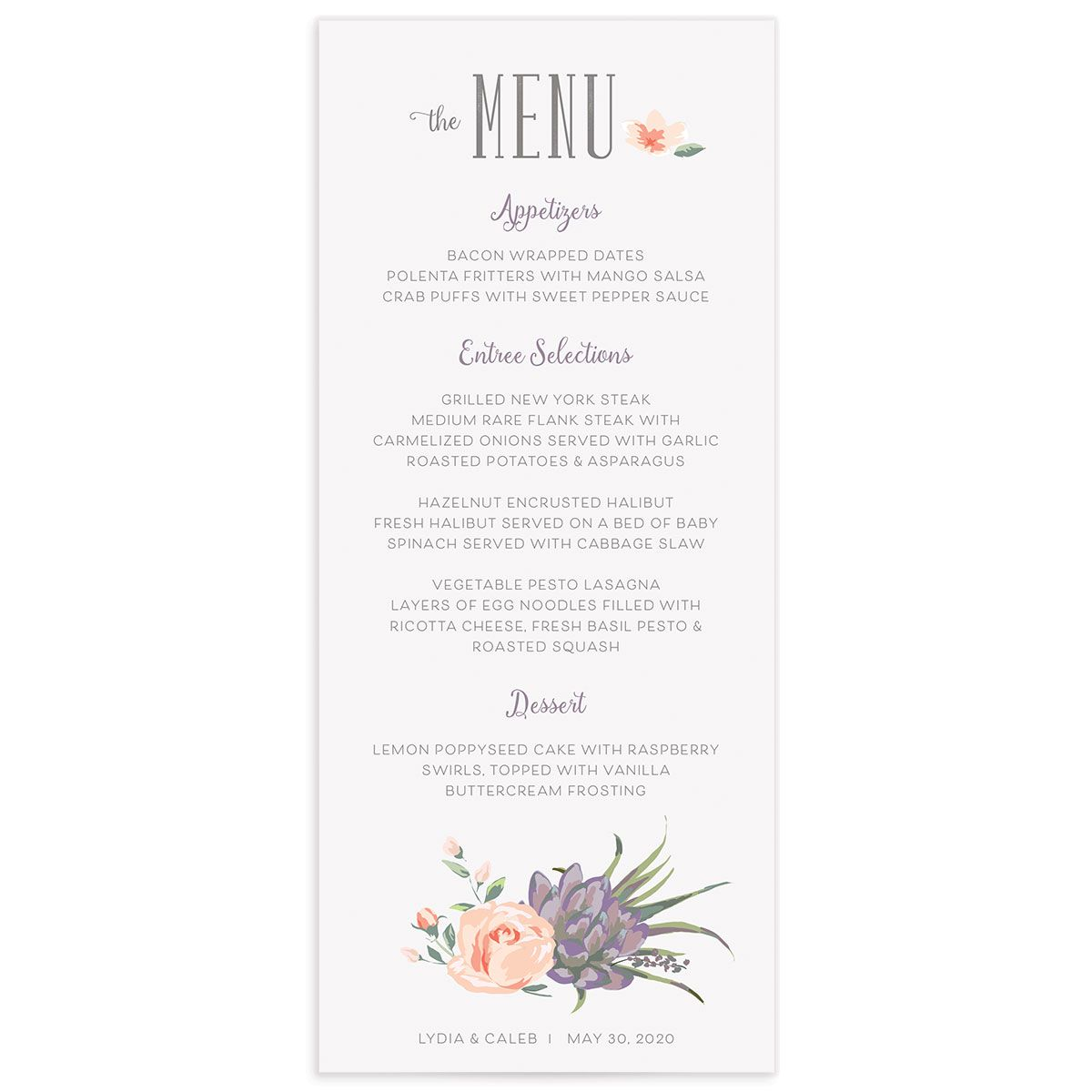 Romantic Succulents menu pur