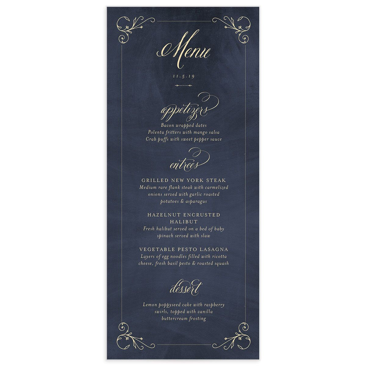 vintage luxe wedding menus in navy