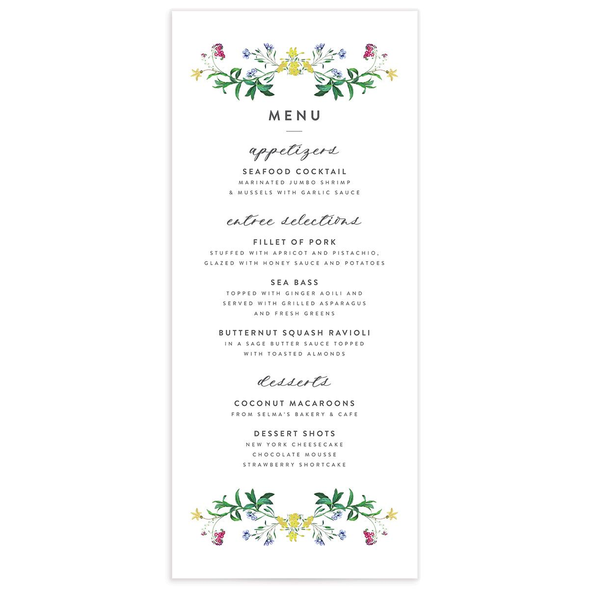 enchanted watercolor menus in green