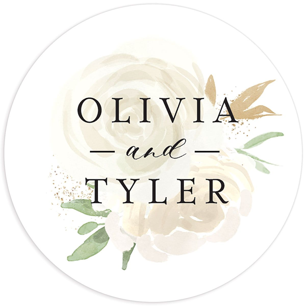 floral bouquet wedding stickers in white