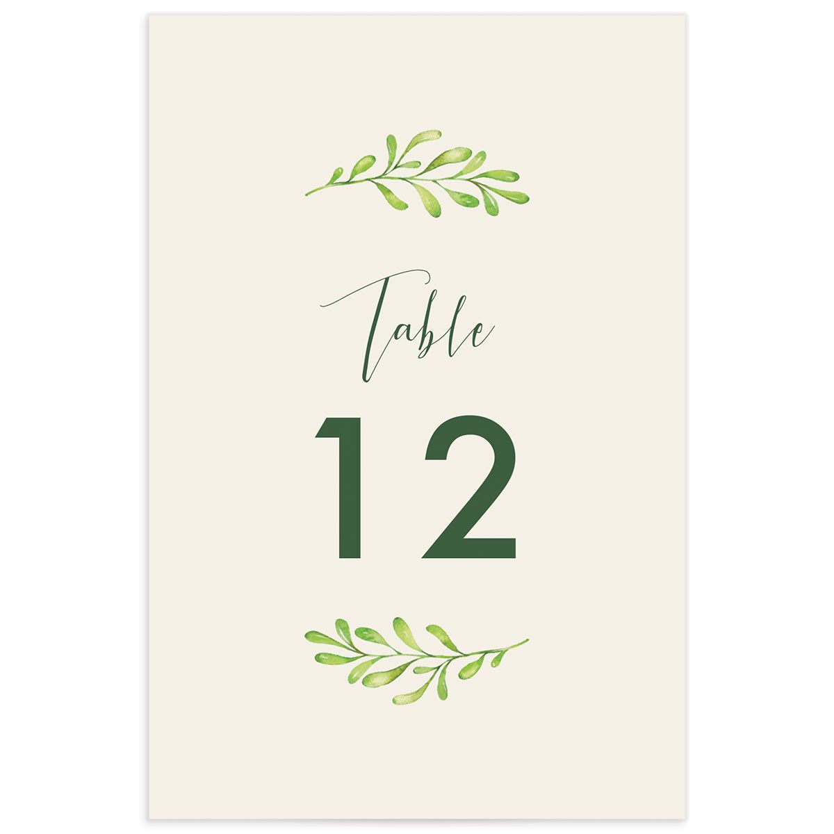 Calligraphic Botanical table number cream front