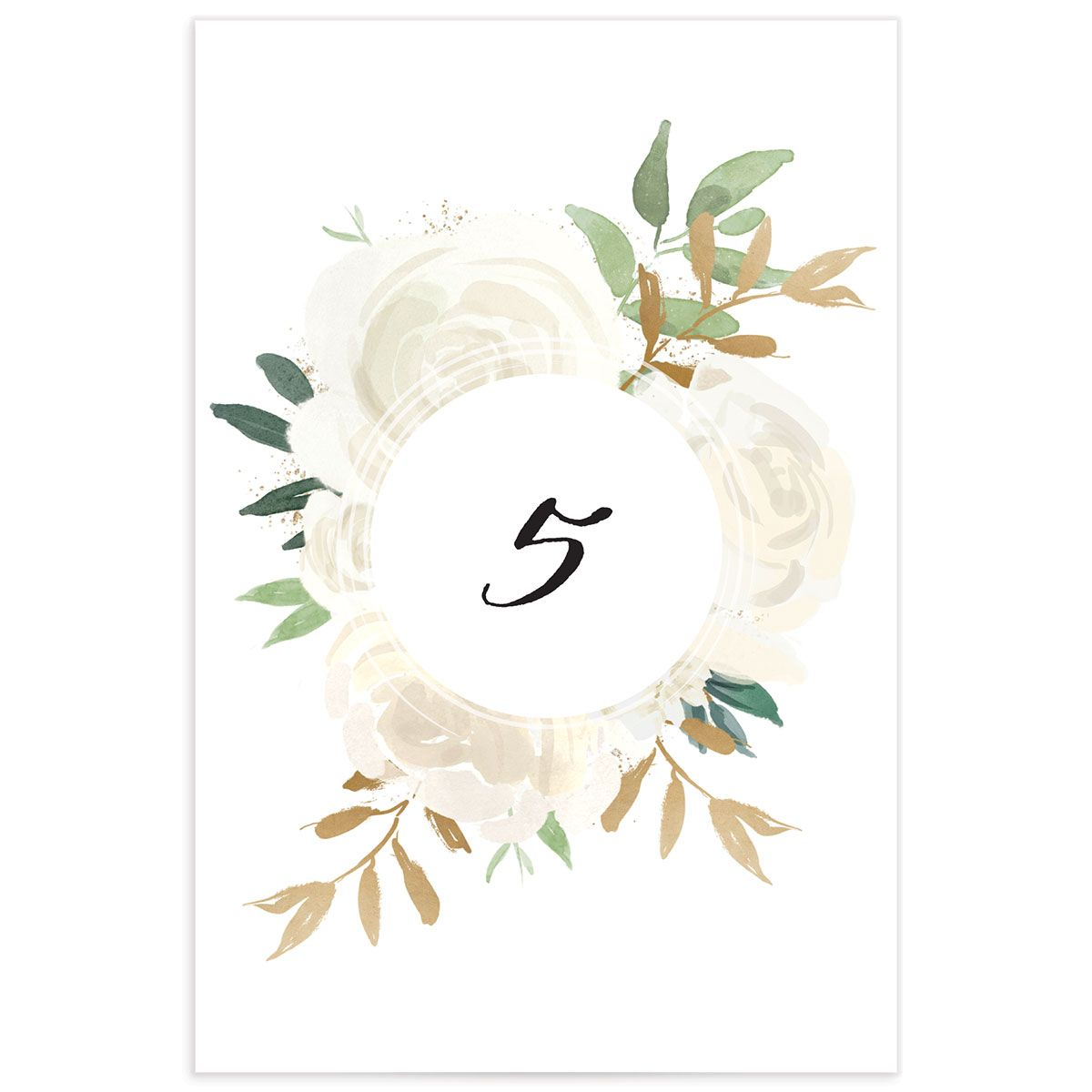 floral bouquet table numbers in cream